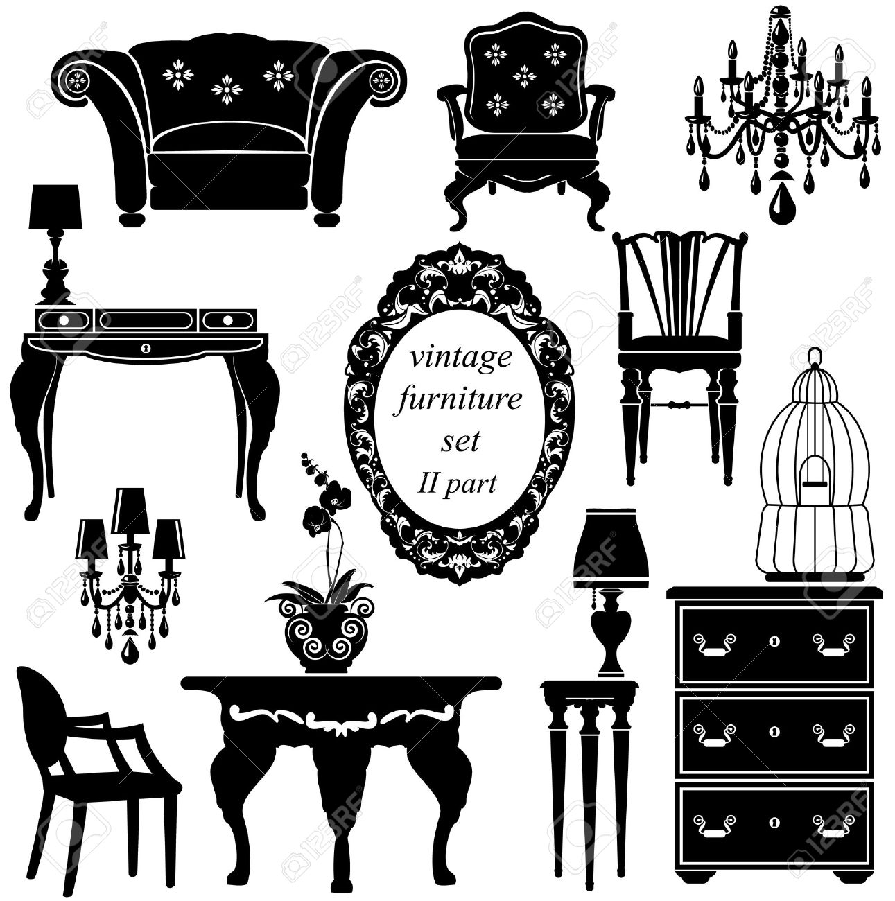 Antique chair drawing - Set Of Antique Furniture Isolated Black Silhouettes Stock Vector 27580289