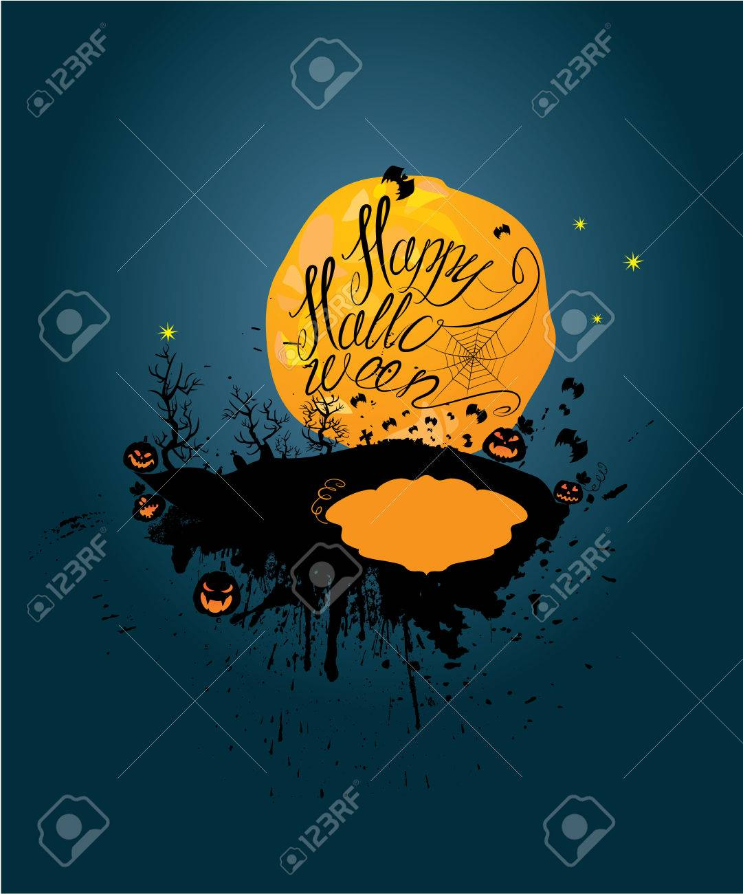 halloween night: pumpkins silhouette on moon and sky background