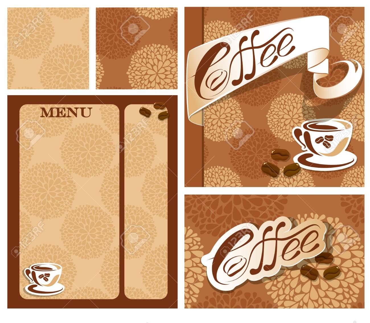 Dessins Modele De Menu Et Carte Visite Pour La Maison Cafe Avec Tasse Les Haricots Le Texte Calligraphique Contexte Restaurant