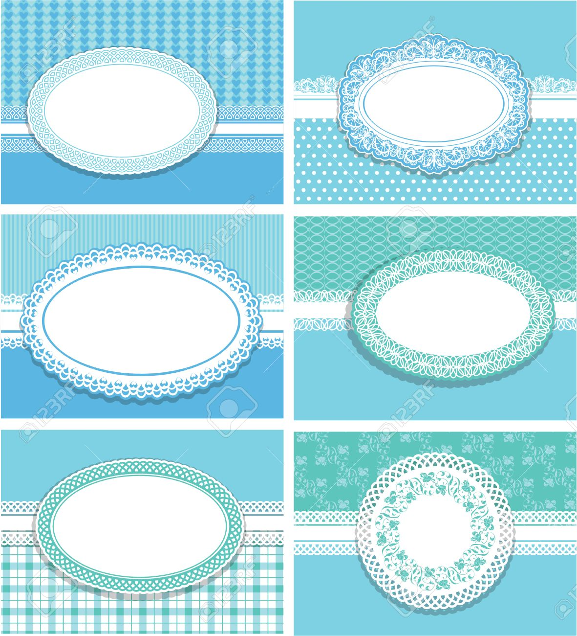 Set Of Horizontal Invitation Cards (for Birthday, Wedding, Baby Shower, Etc.