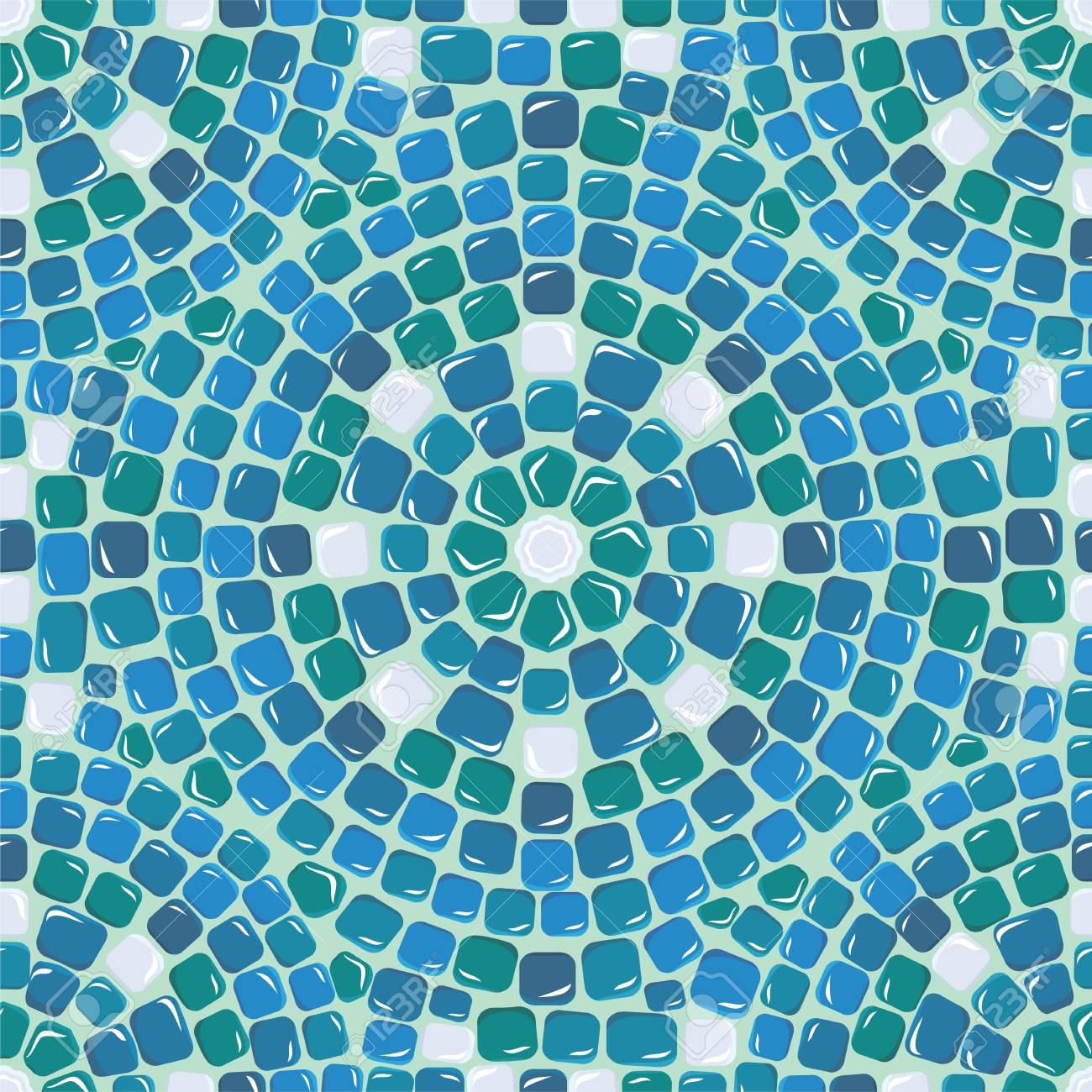 Seamless Mosaic Pattern - Blue Ceramic Tile - Classical Geometric ...
