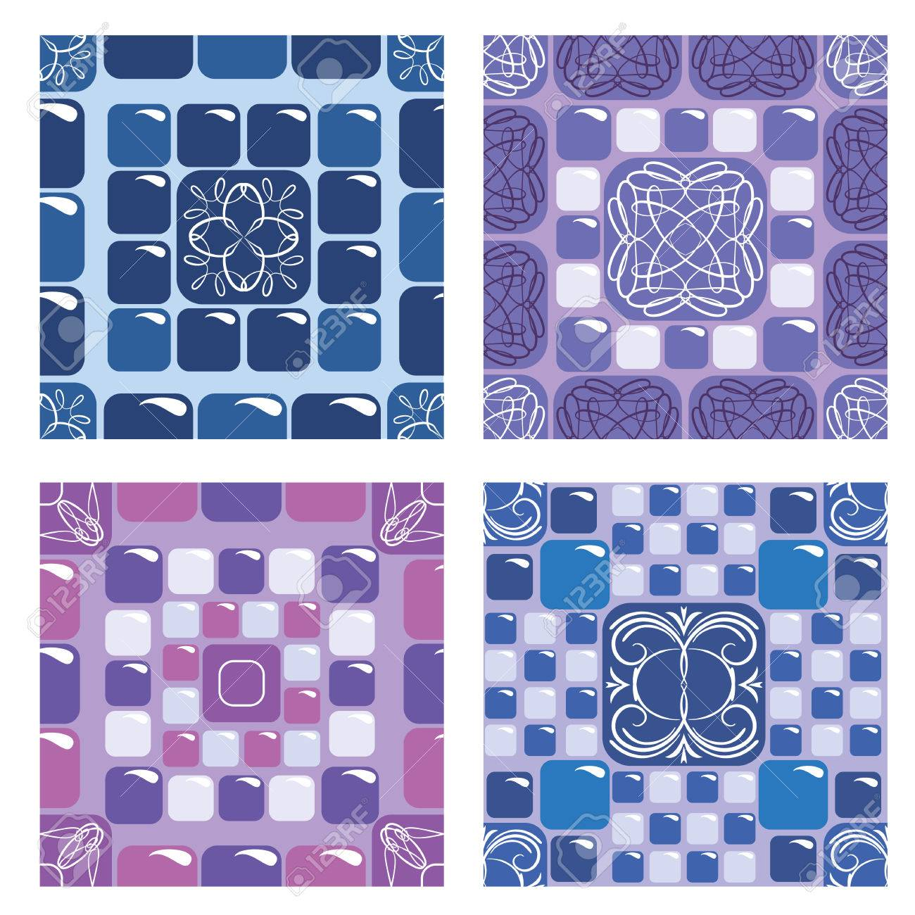 Set of seamless mosaic patterns blue and purple ceramic tiles set of seamless mosaic patterns blue and purple ceramic tiles classical geometric ornament doublecrazyfo Images