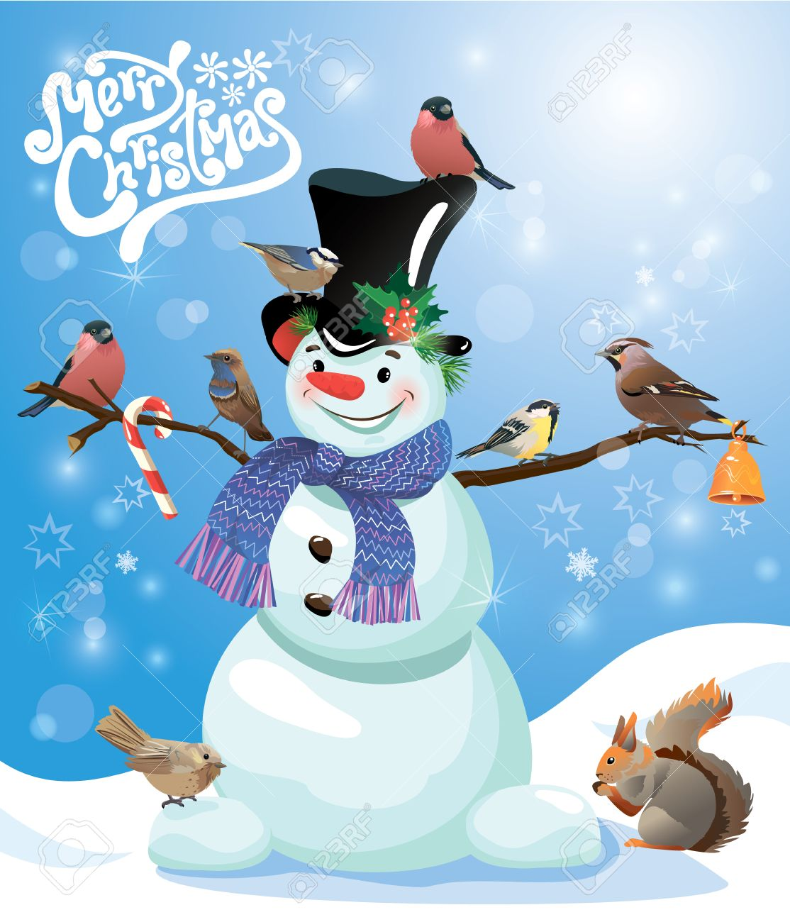 card with funny snowman and birds on blue snow background