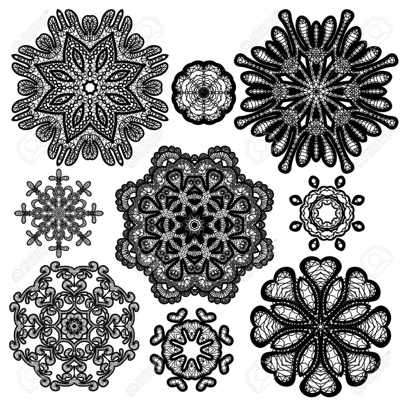 set of abstract circle lace patterns royalty free cliparts vectors