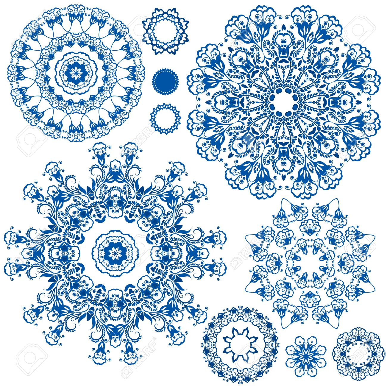 Set Of Blue Floral Circle Patterns Background In The Style