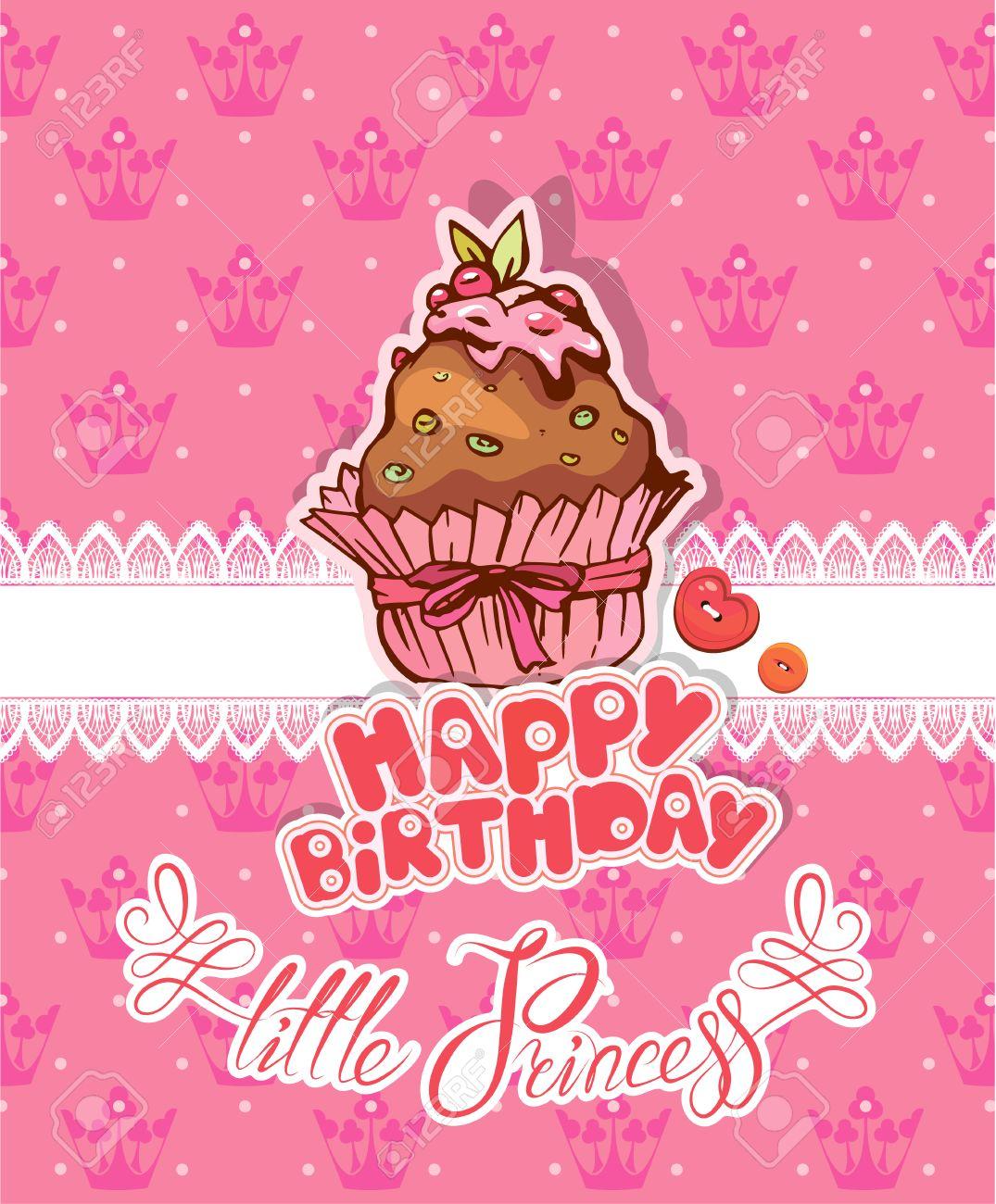 Joyeux Anniversaire Petite Princesse Carte De Vacances Pour Fille
