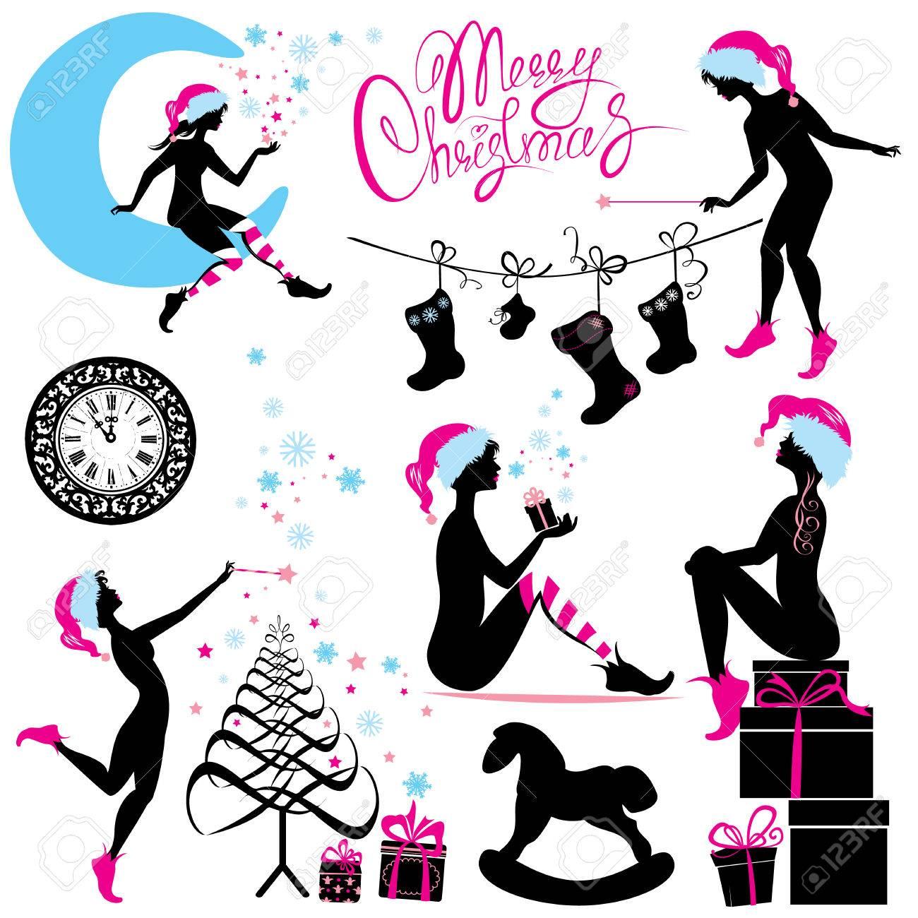 Satz Von Weihnachten Silhouette Fee Mädchen Mit Geschenke, Geschenke ...