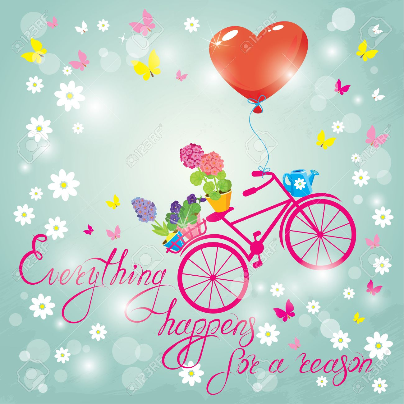 Image with flowers in pots and bicycle on sky blue background image with flowers in pots and bicycle on sky blue background design for birthday invitation stopboris Images