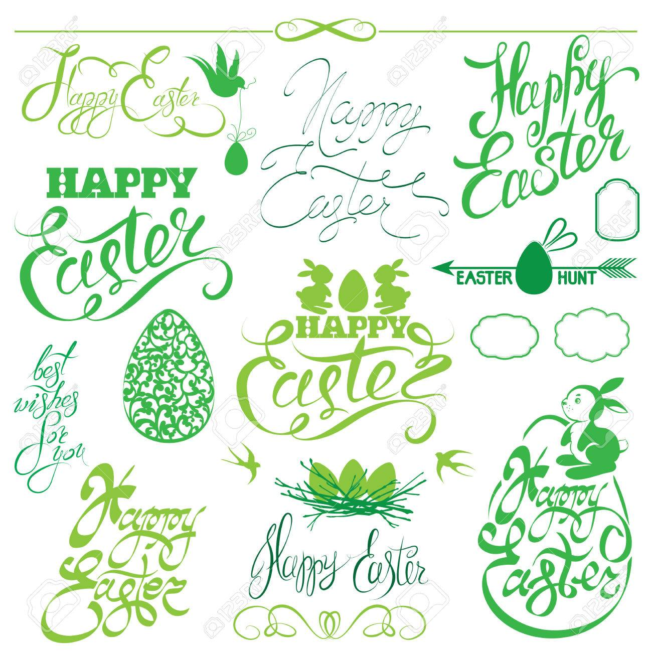 Set Of Happy Easter Holiday Calligraphy Hand Lettering Greetings