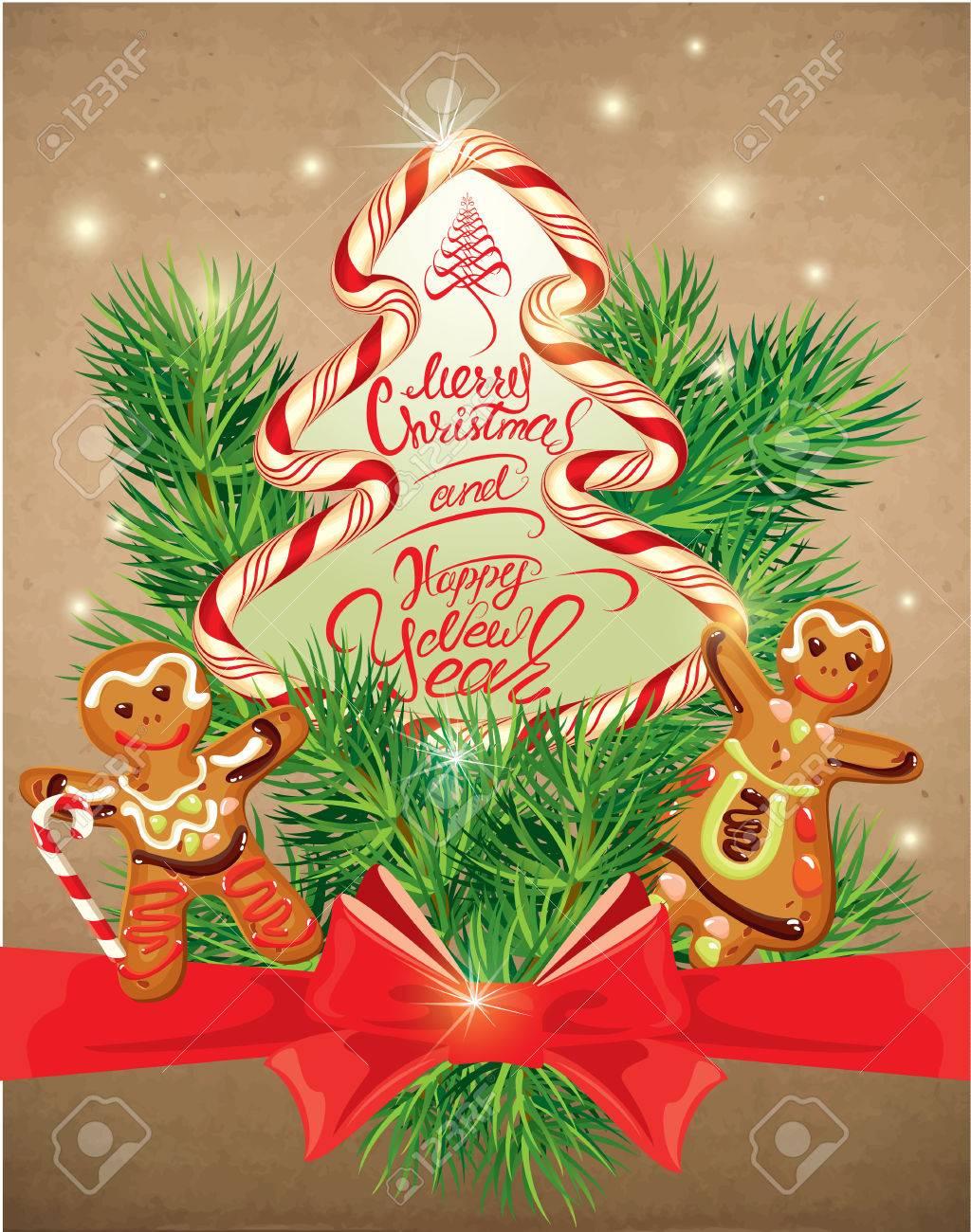 Holiday Greeting Card With Xmas Gingerbread - Man And Woman Cartoons ...