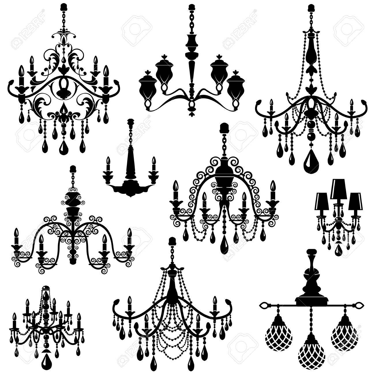 Set Of Decorative Elegant Luxury Vintage Crystal Chandelier Icons Black Silhouette Er Isolated On White