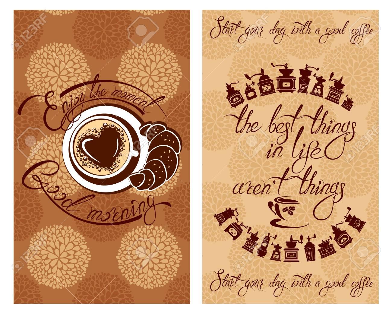 Set Vorlage Flayer Oder Menü-Design Für Kaffee. Hintergrund Mit ...