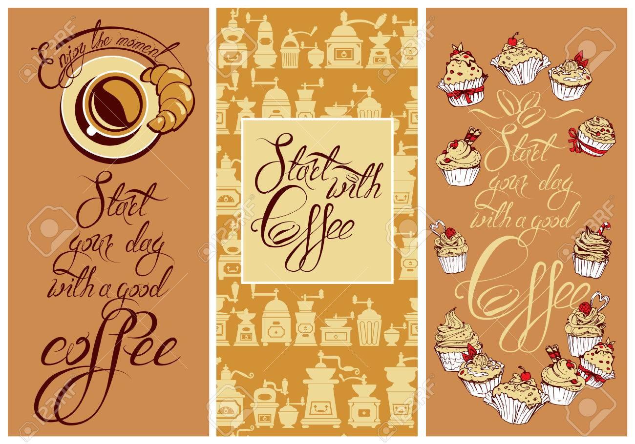 Set Vorlage Flayer Oder Menü-Design Für Kaffee. Hintergrund Für ...