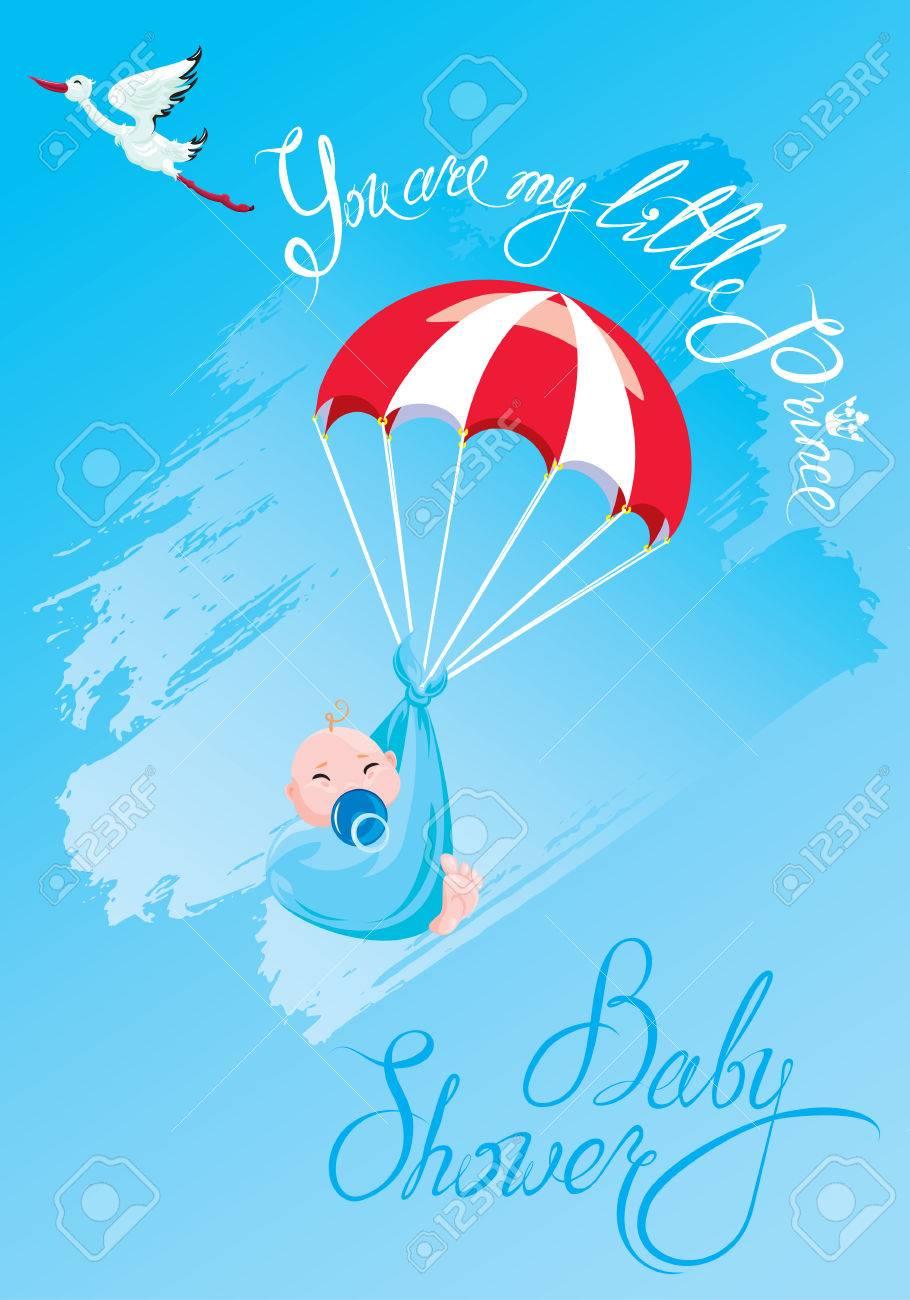 Baby Shower Tarjeta Invitación Etc Cigüeña Paracaídas Con Niño Texto Caligráfico Usted Es Mi Pequeño Príncipe