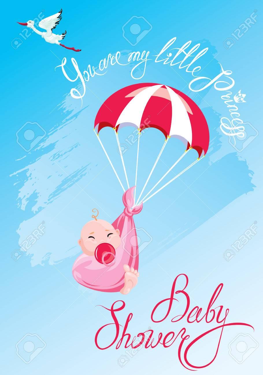 Baby Shower Tarjeta Invitación Etc Cigüeña Paracaídas Con Chica Texto Caligráfico Eres Mi Pequeña Princesa