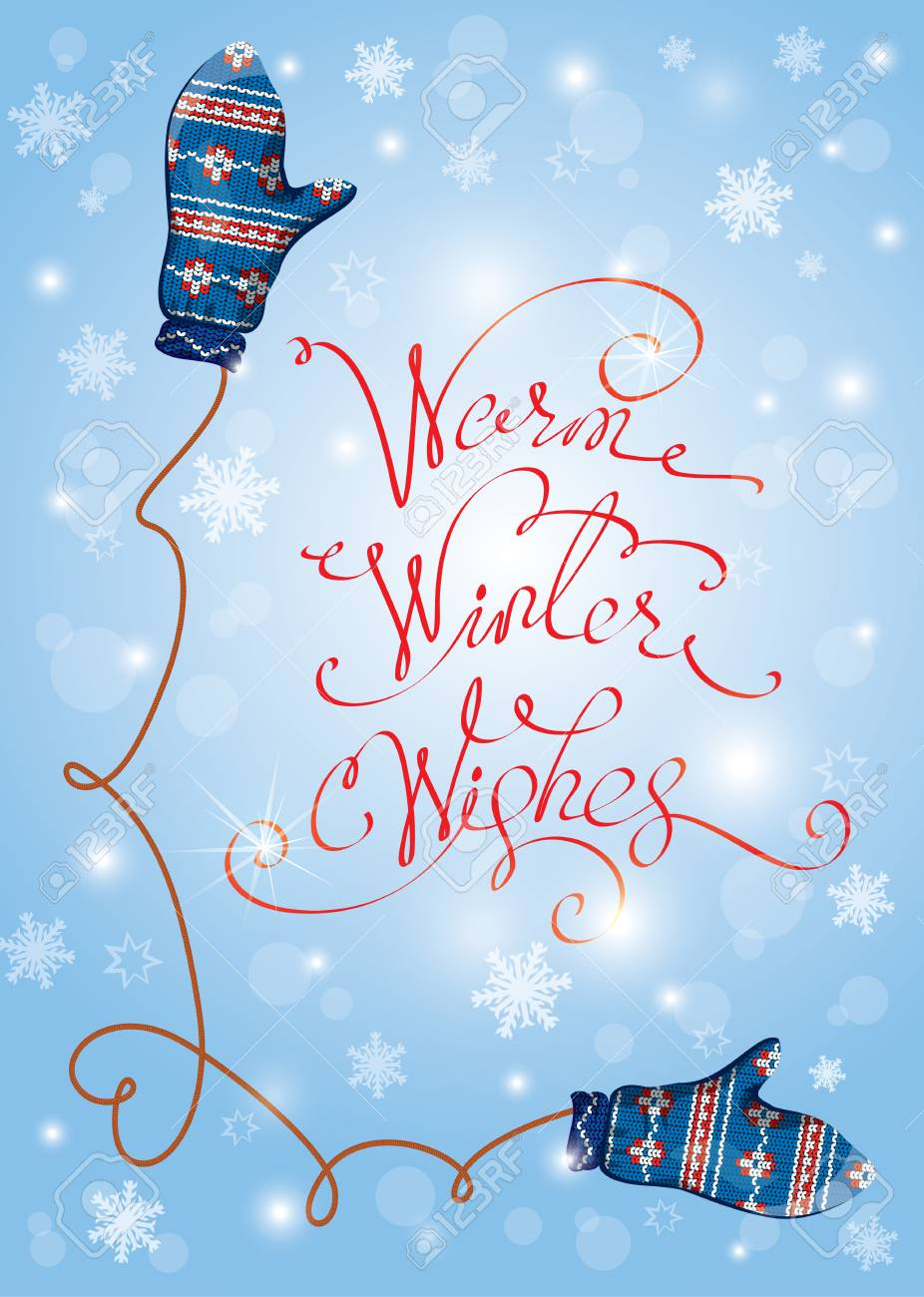 greeting merry christmas and happy new year card with cute blue knitted mitten pair and snowflakes