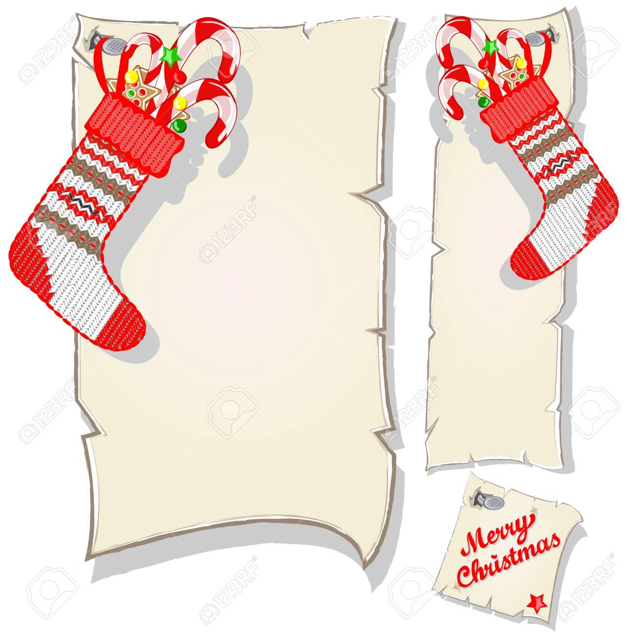 Conjunto De Navidad Marco Y Los Calcetines Con El Caramelo Vacía ...