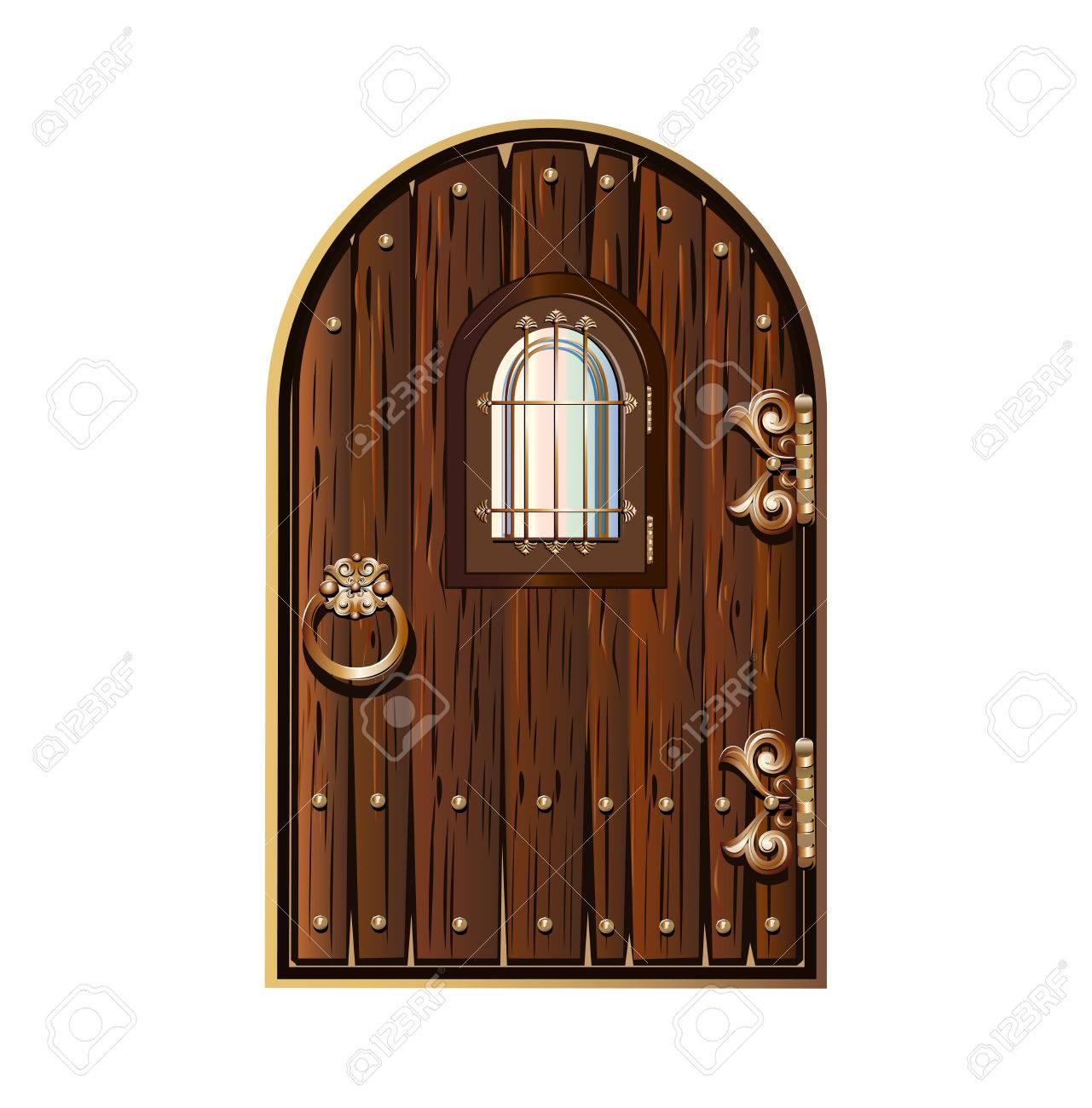 Porte En Bois Avec Fenêtre Décorée Déléments Dorés Clip Art Libres