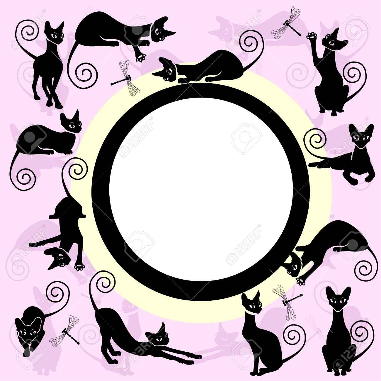 Color Frames With Black Cats. Royalty Free Cliparts, Vectors, And ...