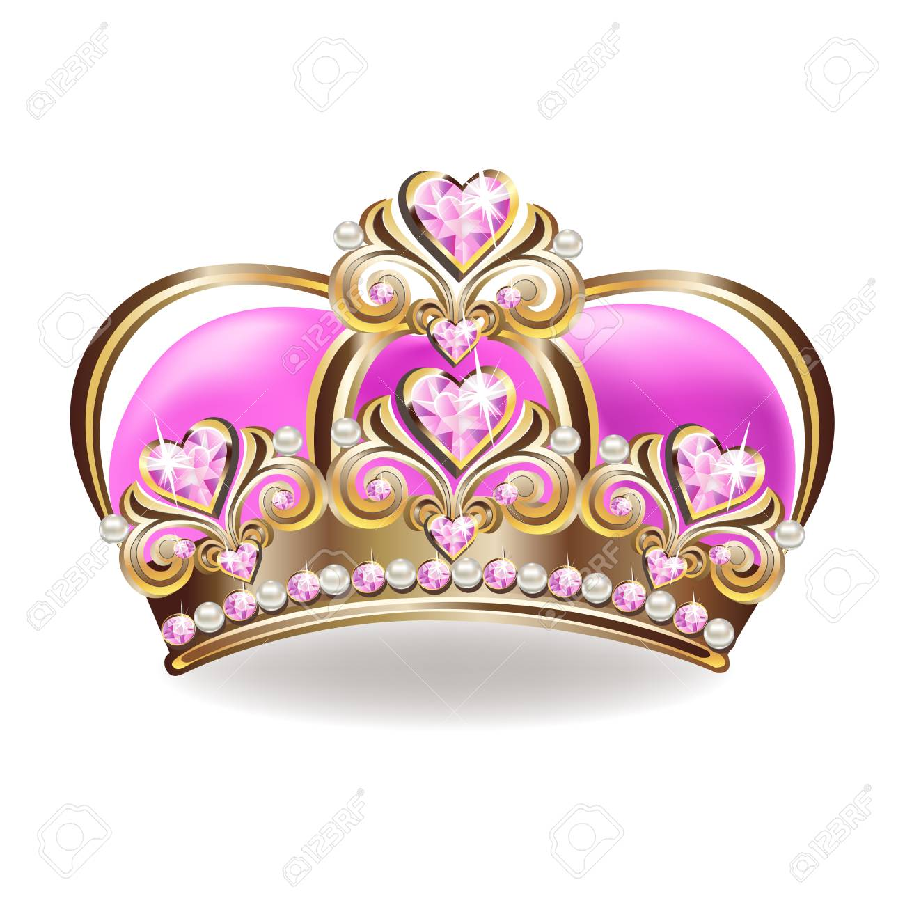 Crown of a princess with pearls and pink gemstones. Vector illustration. - 108812918