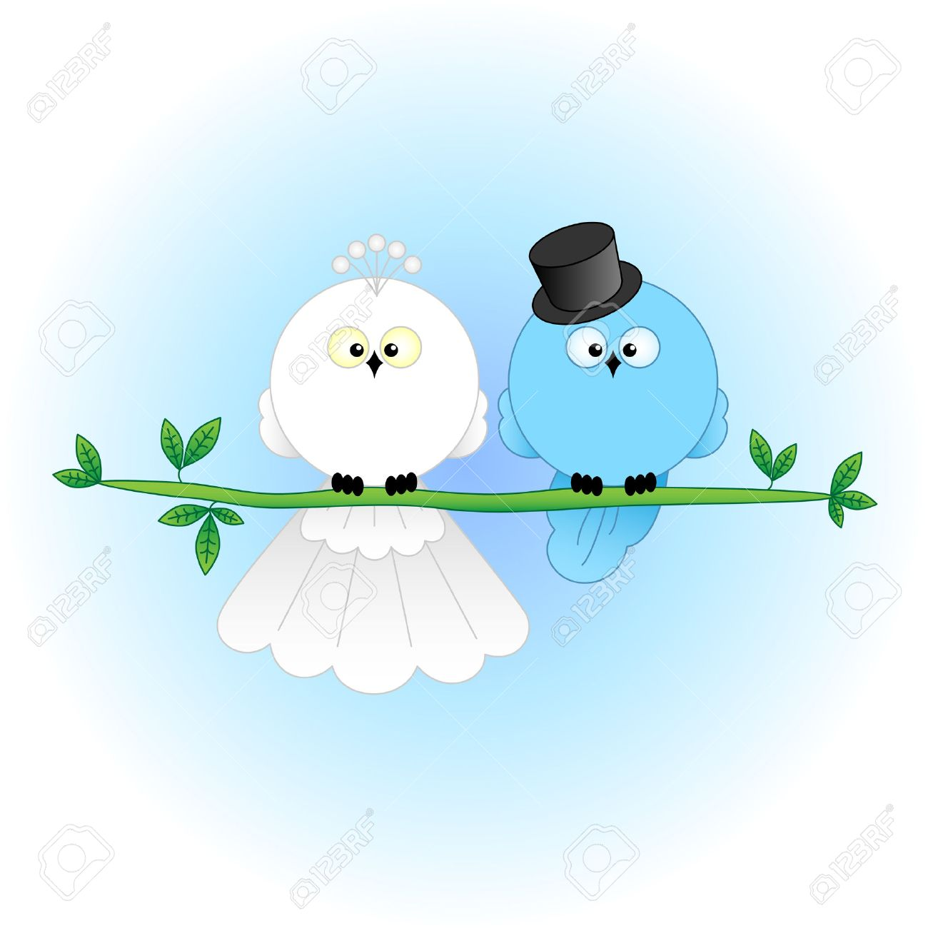 Stylish Bride And Groom Birds Cartoon Characters For Wedding Invitations Cards Etc Stock Vector