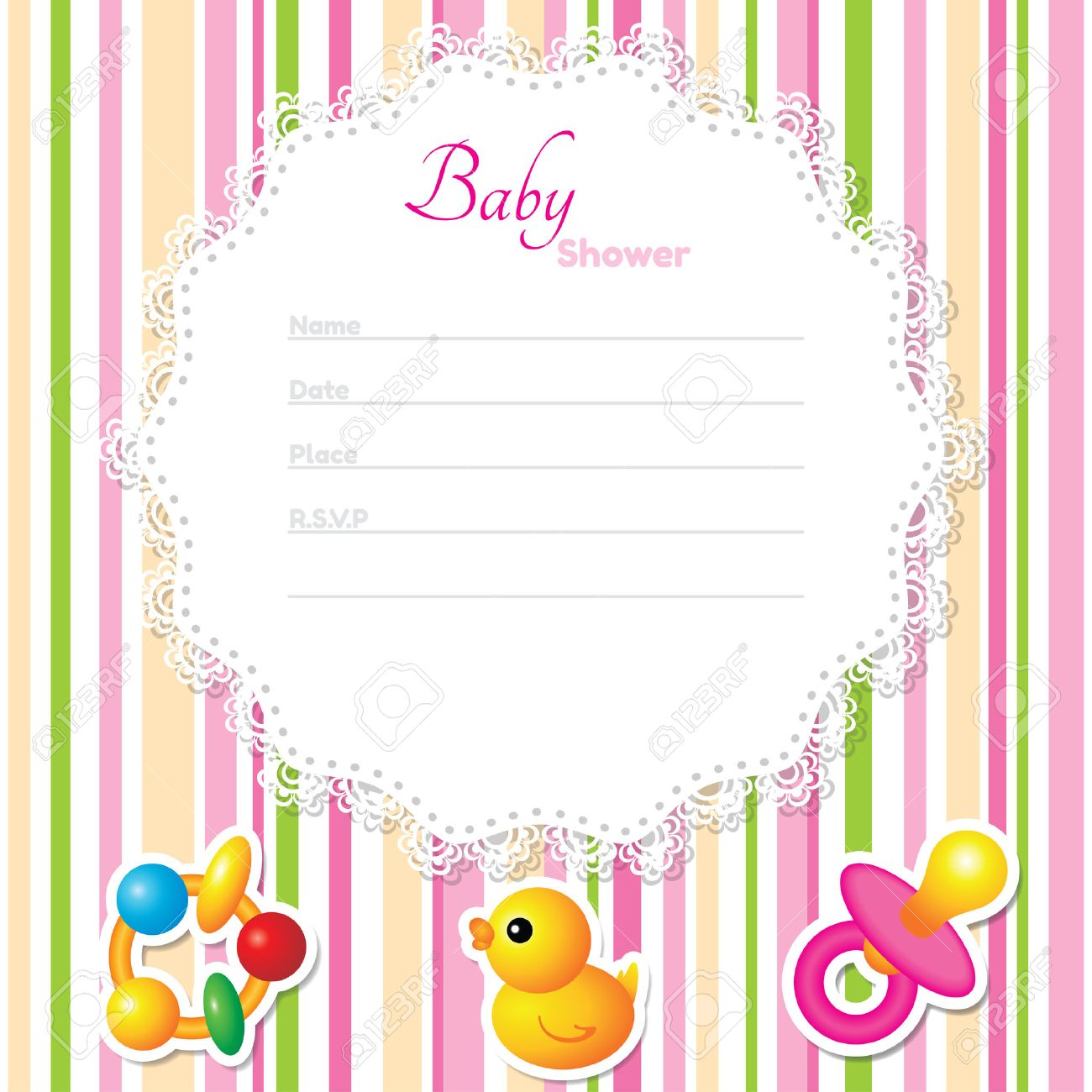 Baby Shower Card Template. CMYK Colors Royalty Free Cliparts ...