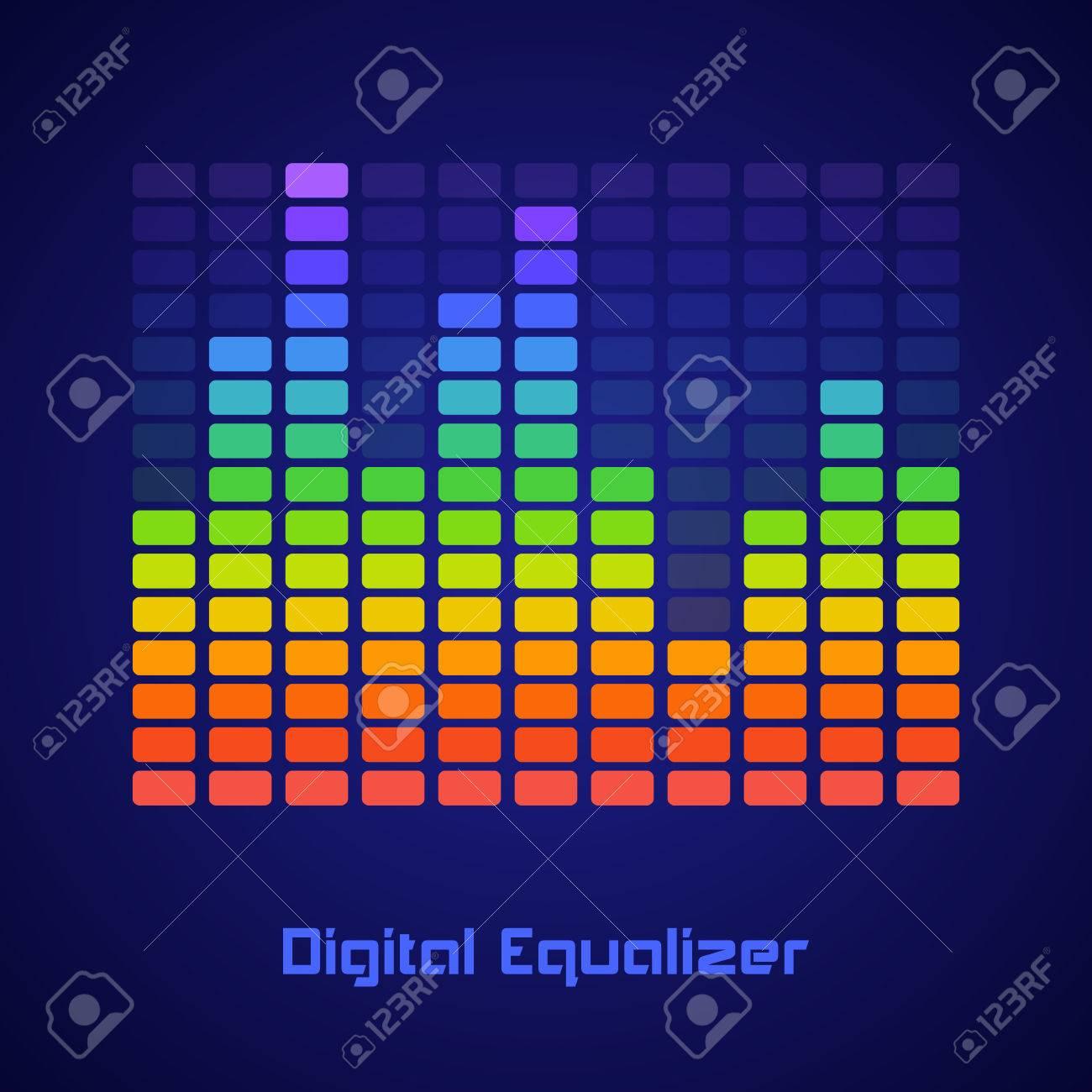 Rainbow Equalizer on dark background. Vector illustration Stock Vector - 24895870