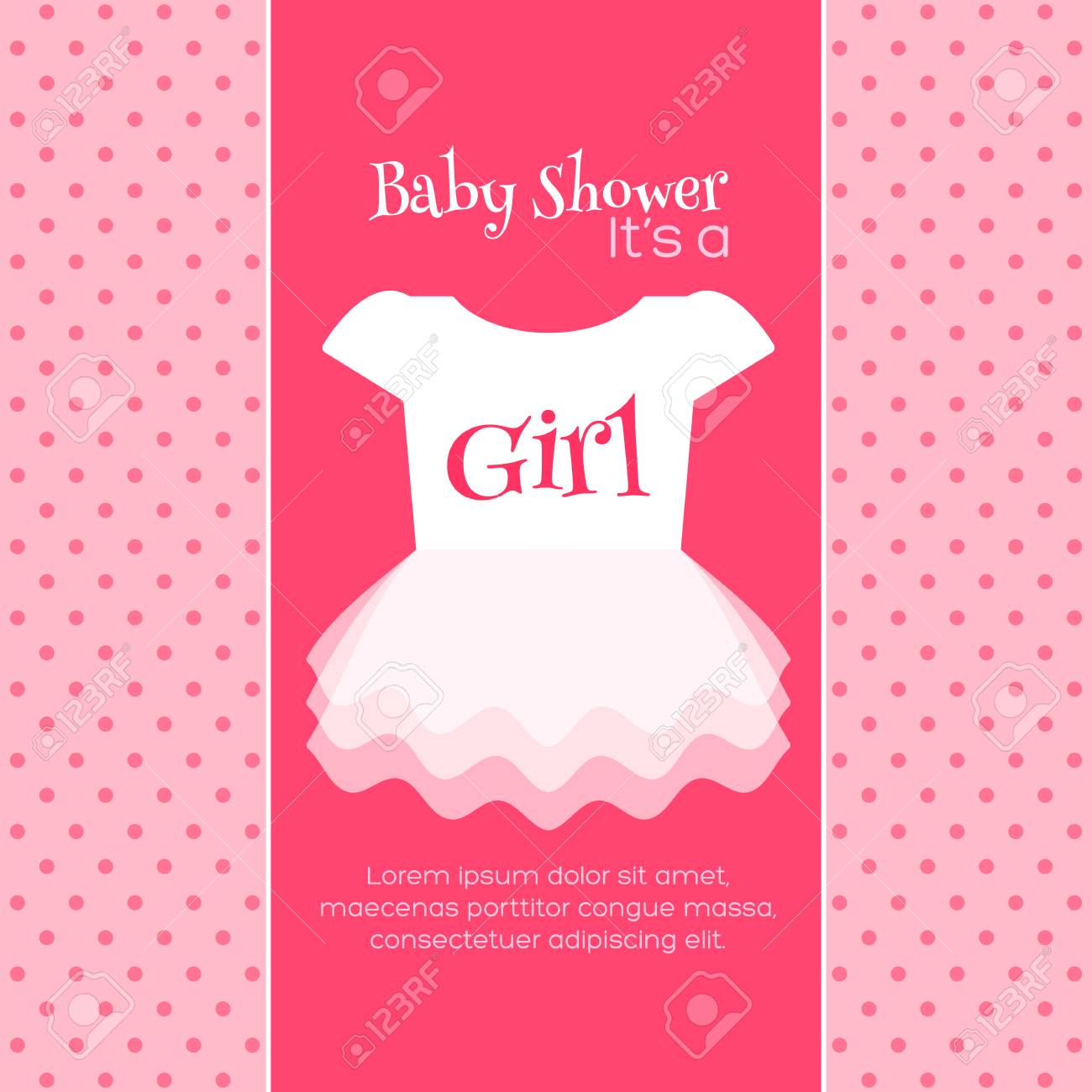 Baby Girl Shower Invitation Template Vector Design
