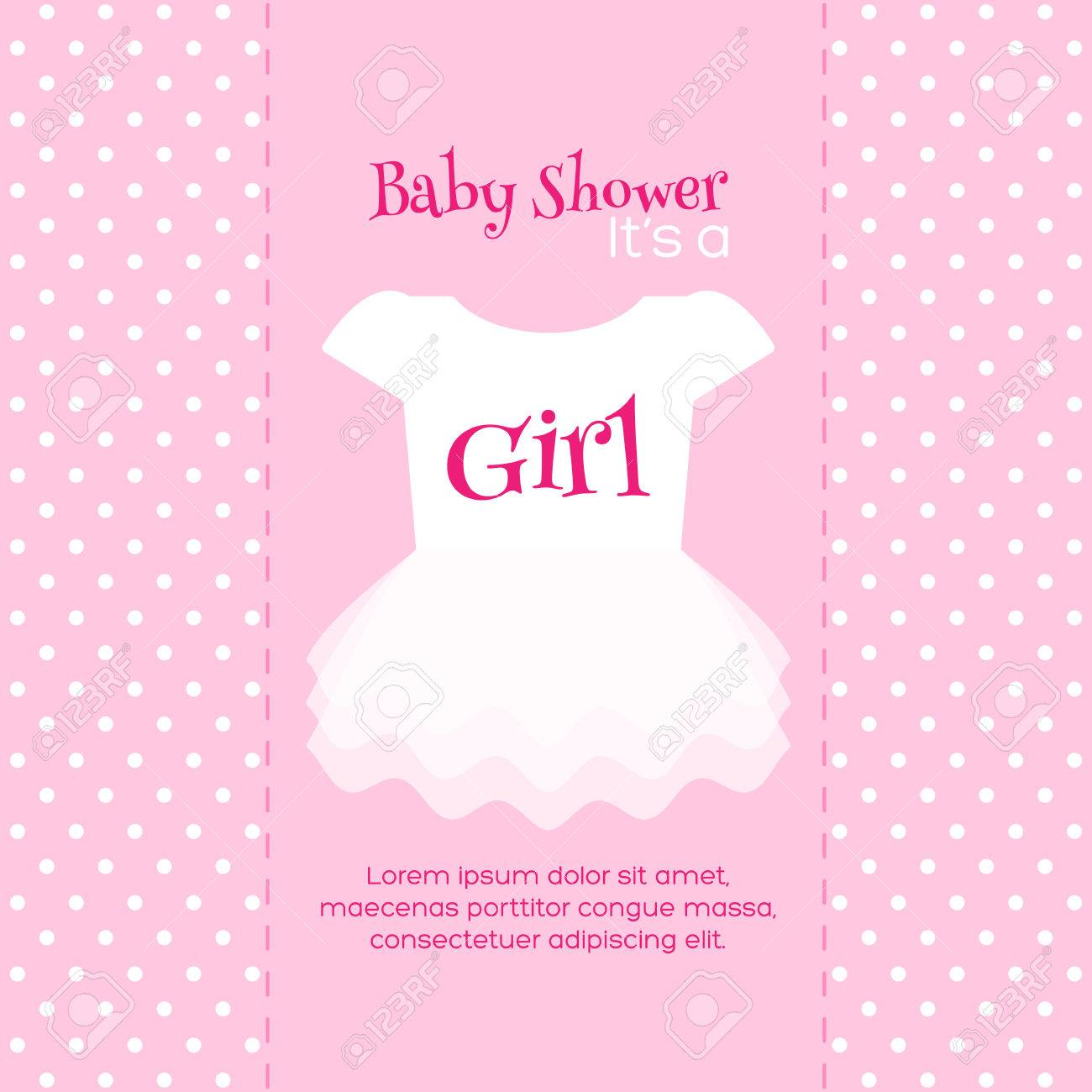 Baby Girl Shower Invitation Card. Pink Template Royalty Free ...
