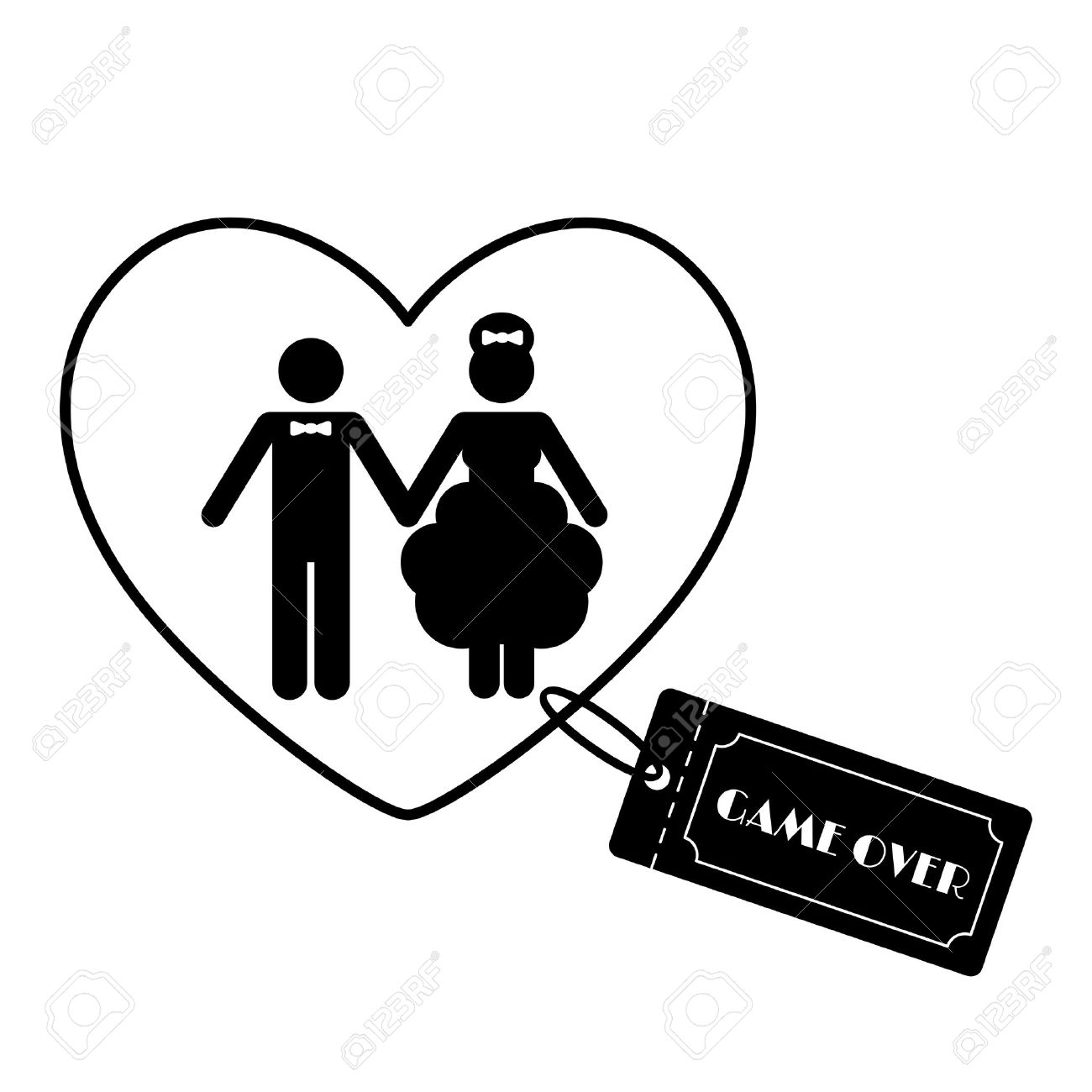cartoon funny wedding symbols game over vector illustration rh 123rf com wedding vector clip art wedding vector clip art