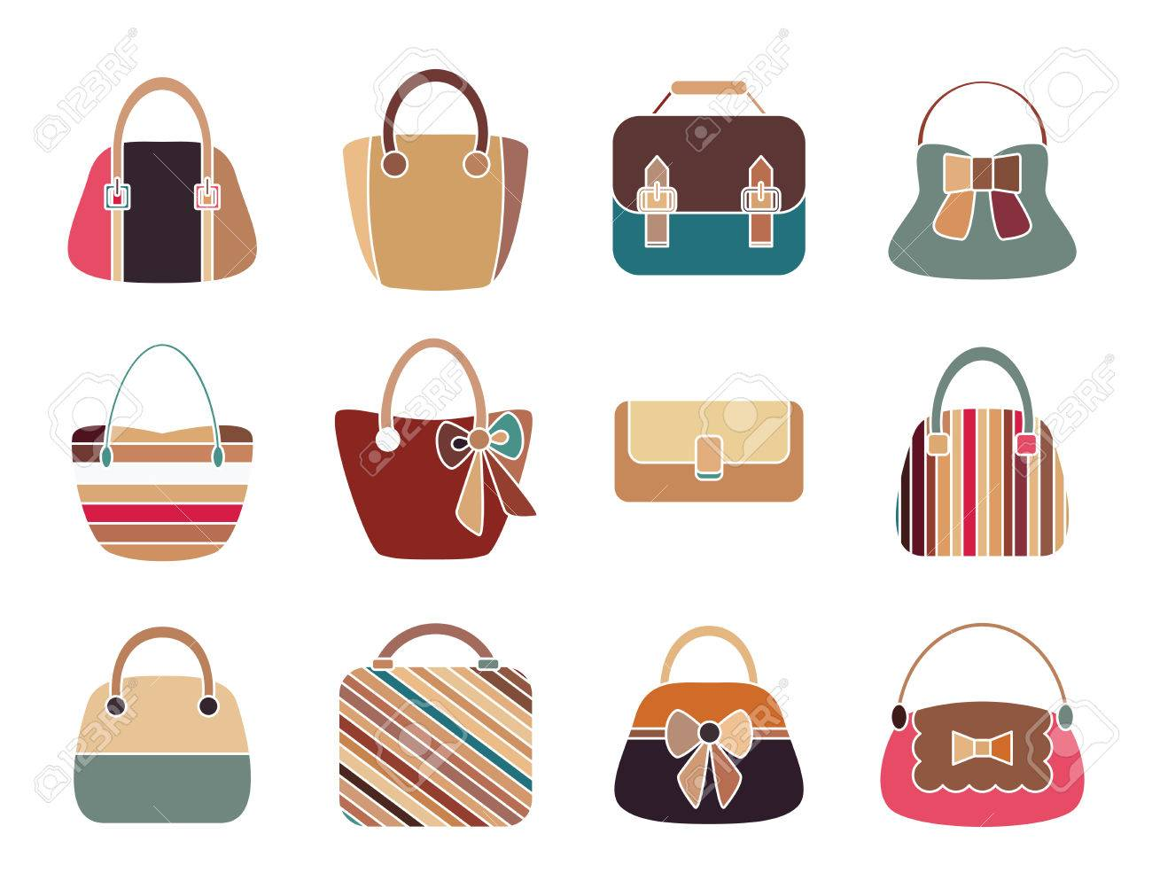 6ea35d963c Collection of Retro Woman Bags Isolated on White Background. Colorful Icons  Set. Vector Design