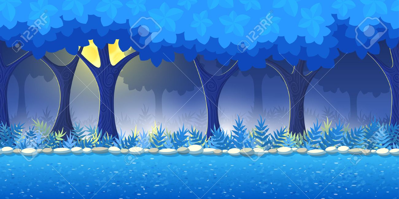 night forest game background for 2d game application vector