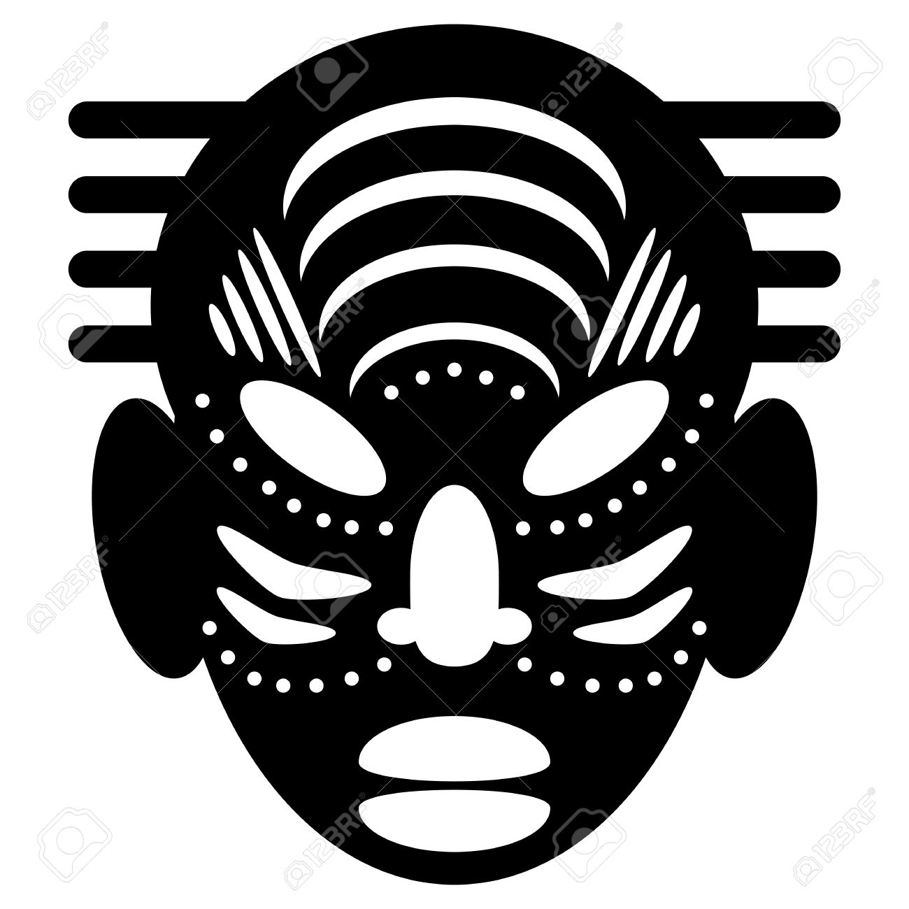 African Masks Isolated On White. Vector Icons For Tribal Designs ...