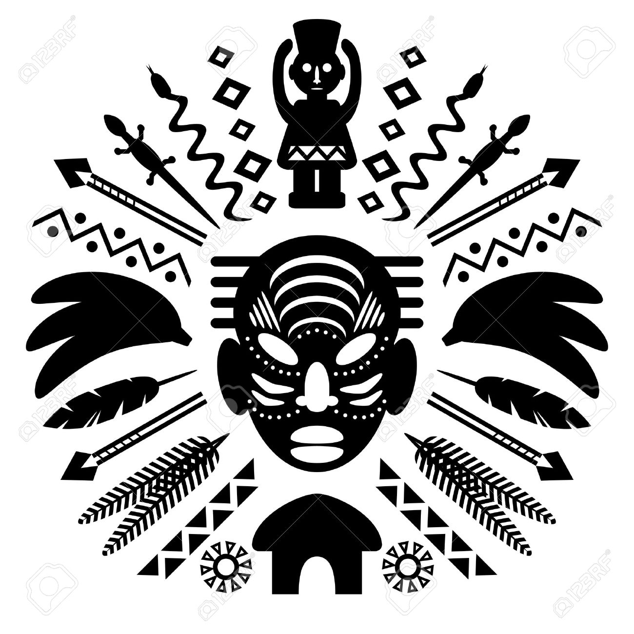 African Abstract Art Tribal Concept Illustration With Mask Animals