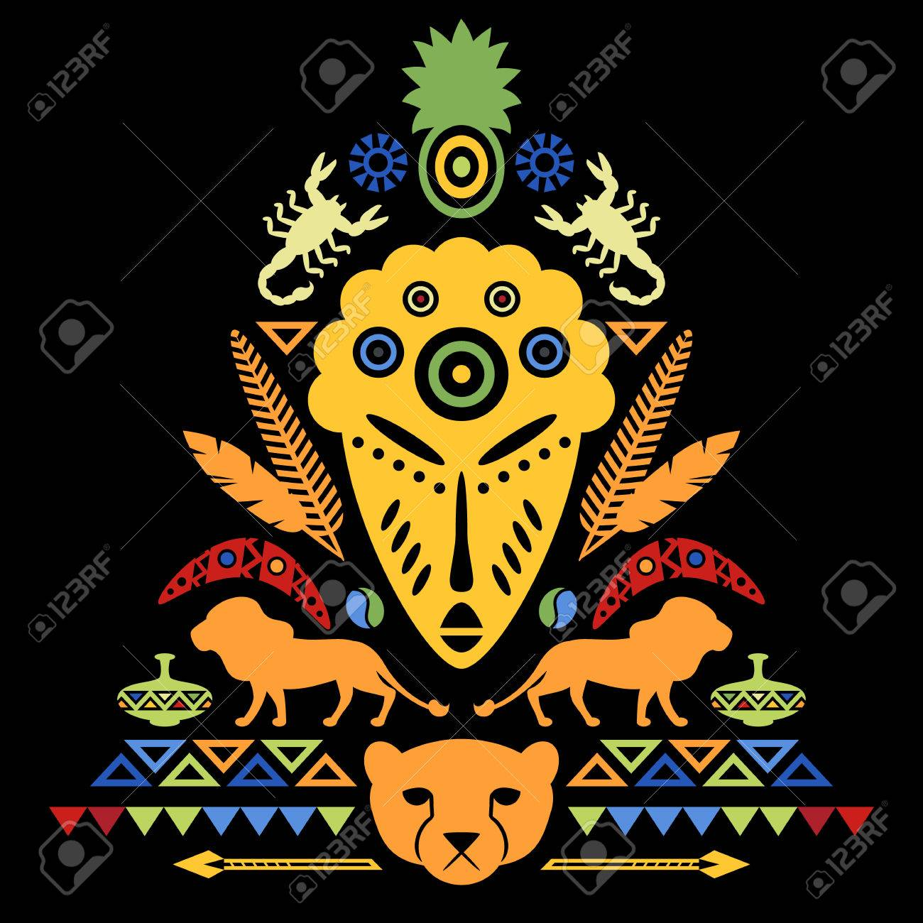 African Abstract Art Tribal Concept Illustration With Mask Animals And Decorative Elements Vector Design