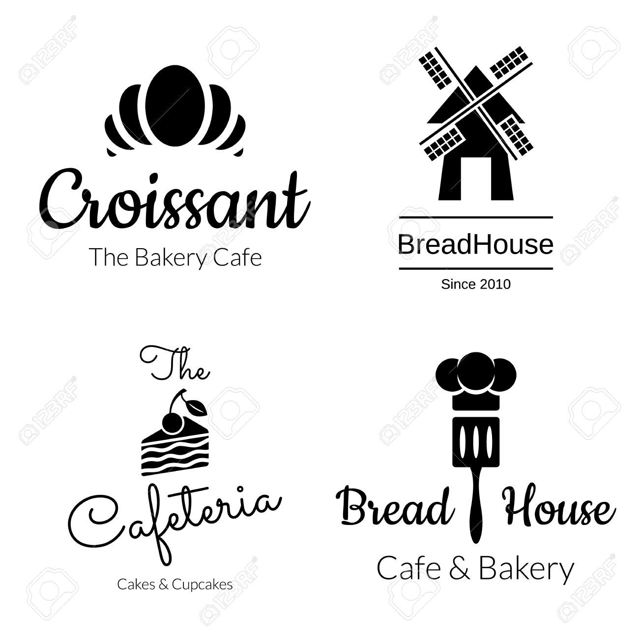 Noir Boulangerie Logo Regle Croissant Cake Mill Elements Vector