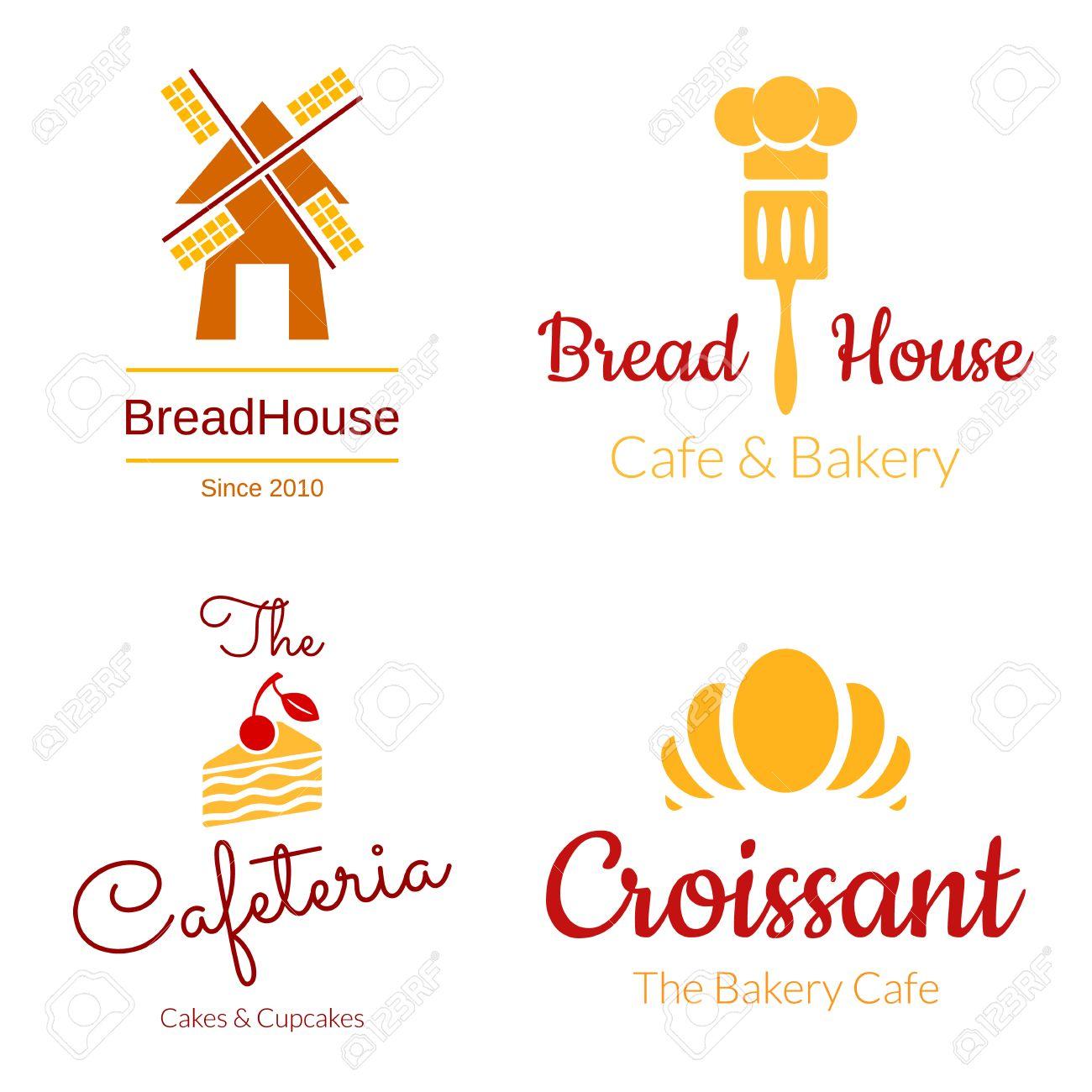 Bakery Logo Set Croissant Cake Mill Elements Vector Design