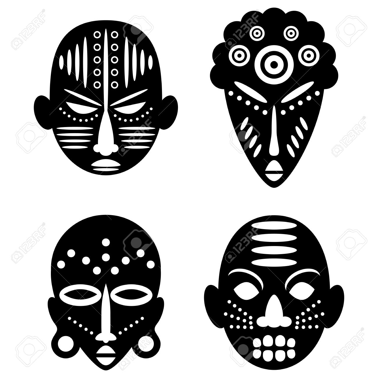 african masks isolated on white vector icons for tribal designs