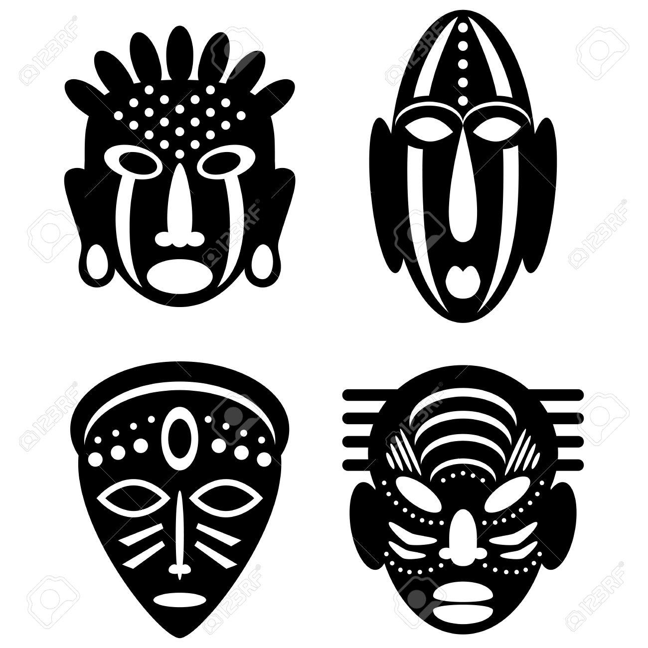 Turbo Masques Africains Isolé Sur Blanc. Icônes Vectorielles Pour  BH36