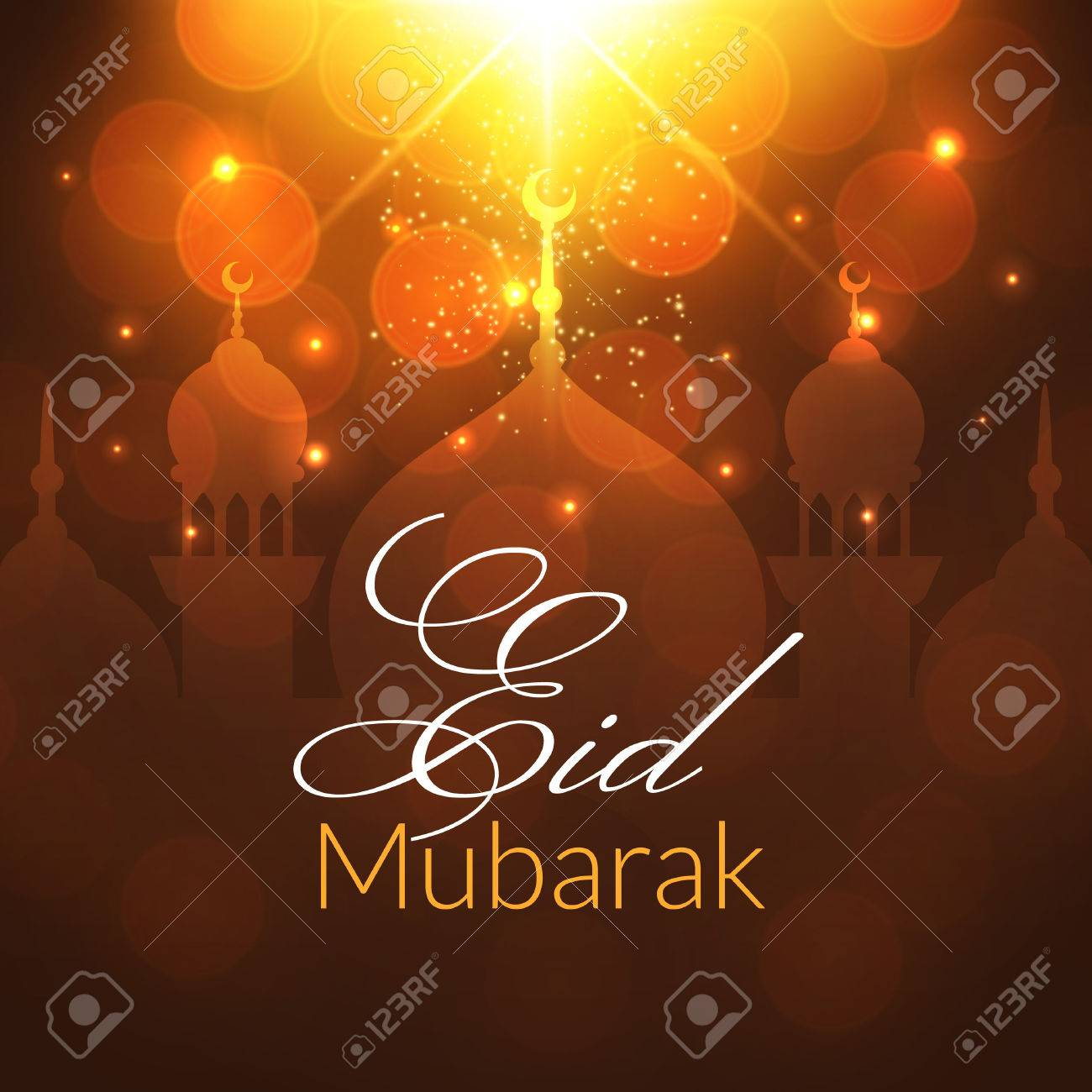 Eid mubarak greeting card with mosque and lights vector festive eid mubarak greeting card with mosque and lights vector festive islamic background stock vector kristyandbryce Choice Image