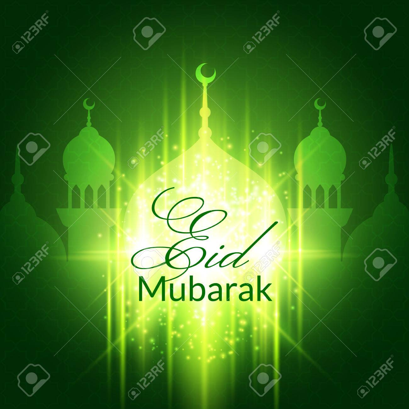 Eid Mubarak Greeting Card With Mosque And Lights Vector Festive