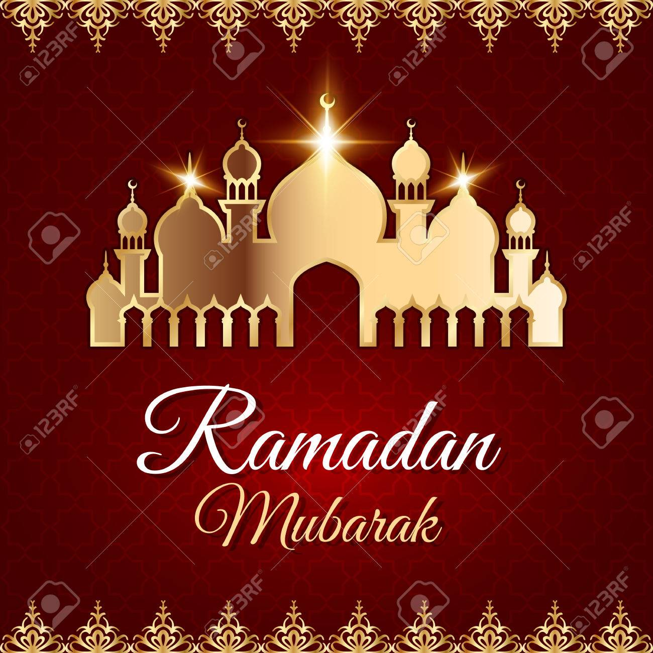 Ramadan mubarak greeting card with golden mosque dark red vector ramadan mubarak greeting card with golden mosque dark red vector islamic background stock vector kristyandbryce Image collections