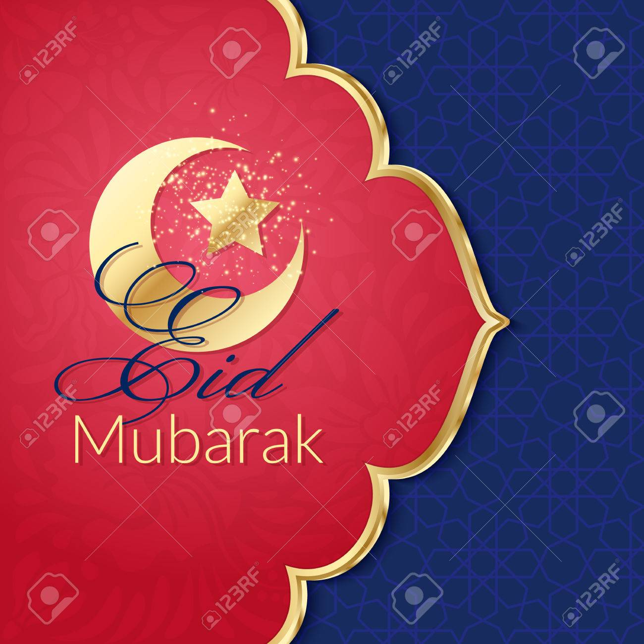 Eid Mubarak Greeting Card With Traditional Pattern And Crescent