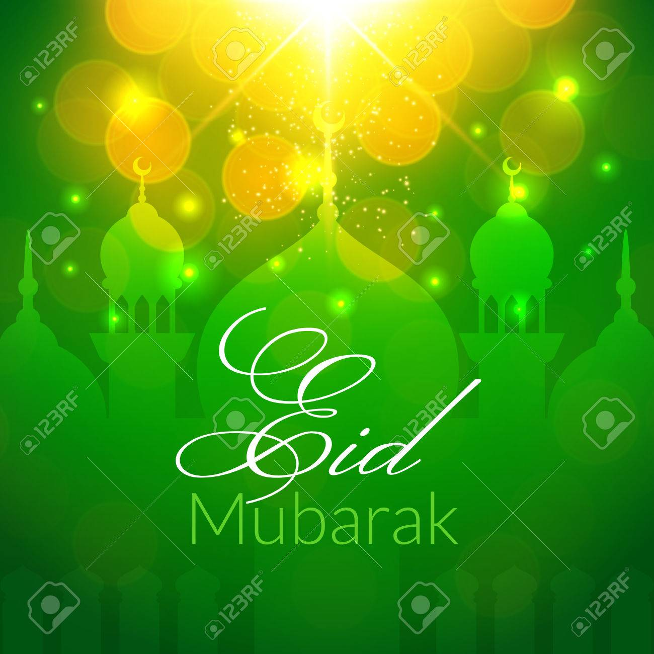 Eid Mubarak Greeting Card With Mosque And Lights Vector Festive Islamic Background Stock