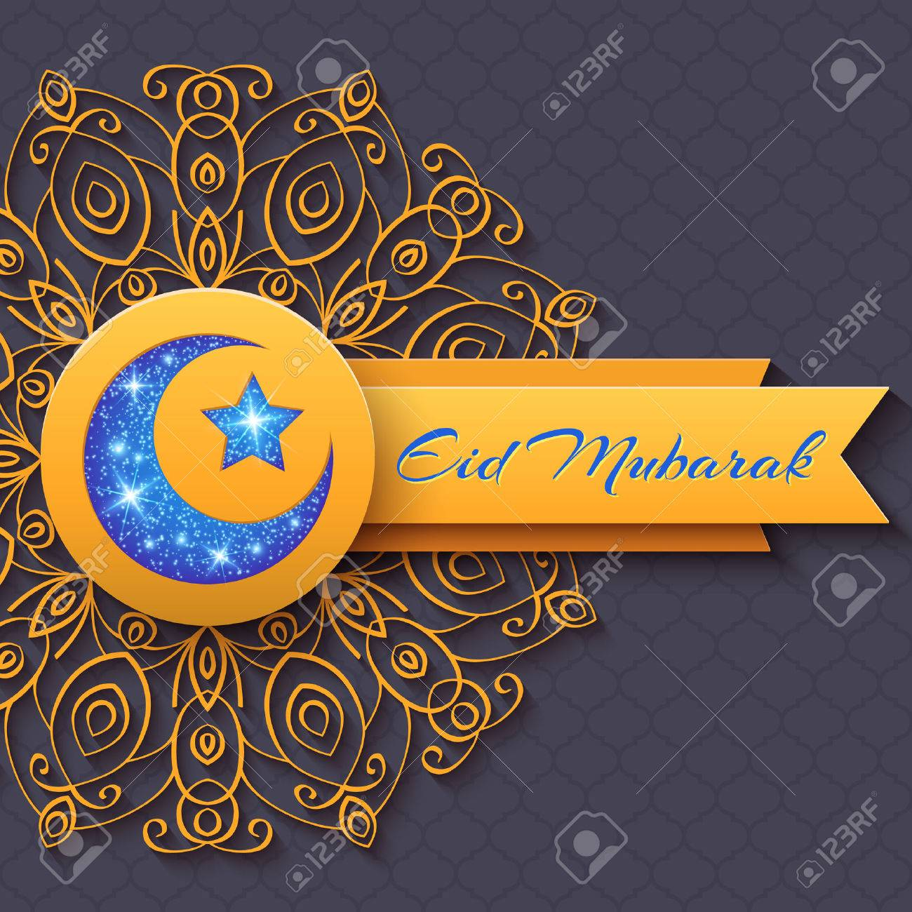 Colorful greeting card eid mubarak with round decorative pattern colorful greeting card eid mubarak with round decorative pattern and shining star and moon for holy m4hsunfo