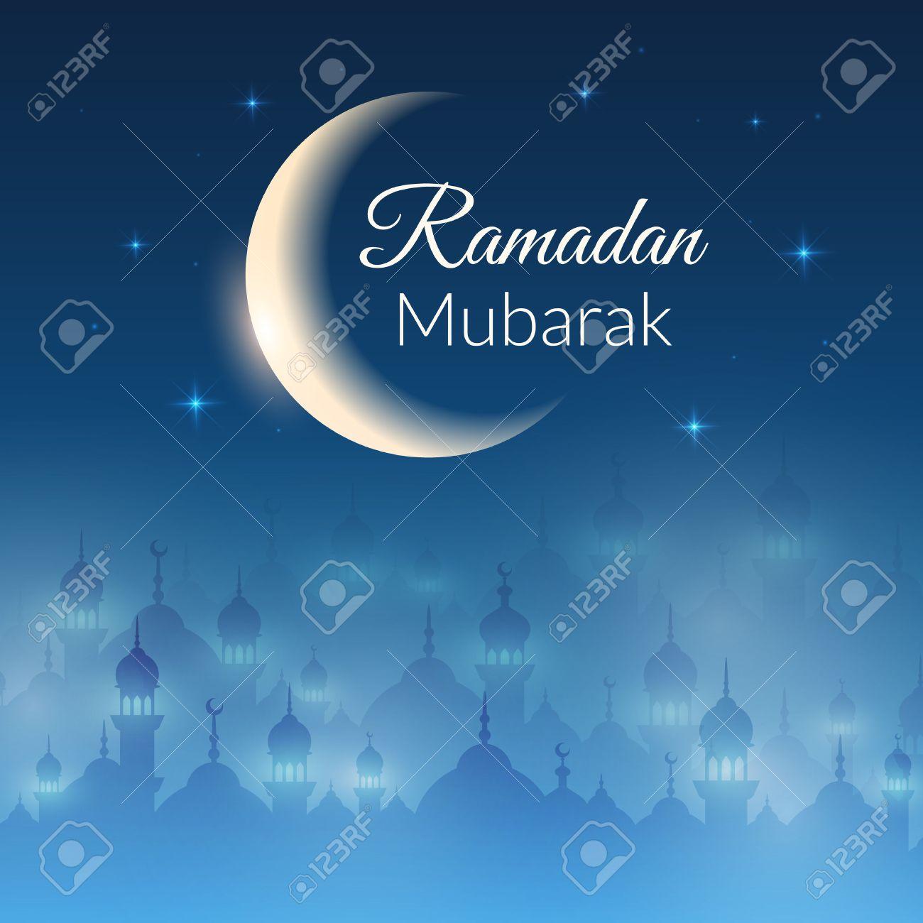 モスクとライト 月の夜の風景の壁紙の星します イスラム教徒の