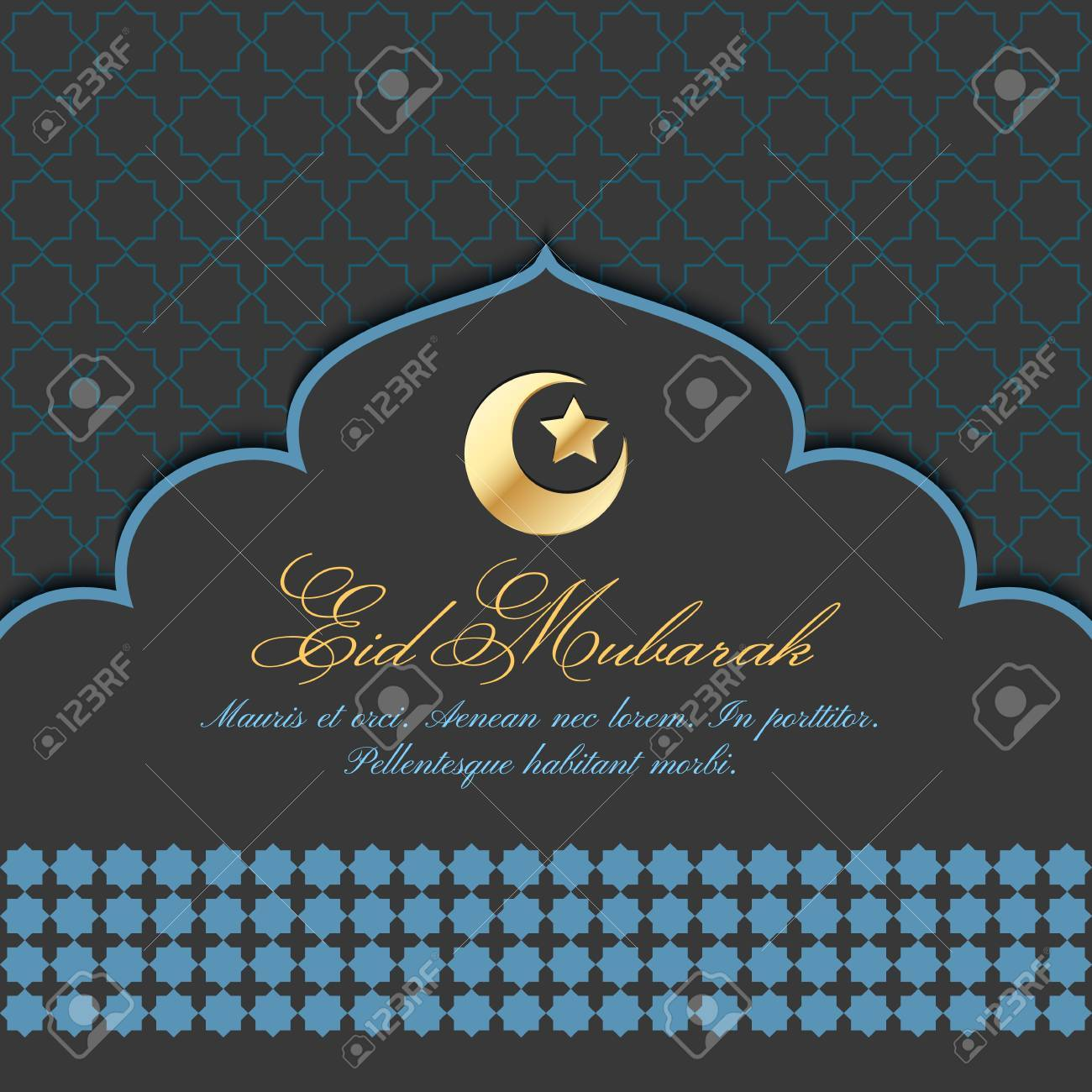 Eid mubarak greeting card with traditional pattern and crescent eid mubarak greeting card with traditional pattern and crescent star vector islamic background stock m4hsunfo