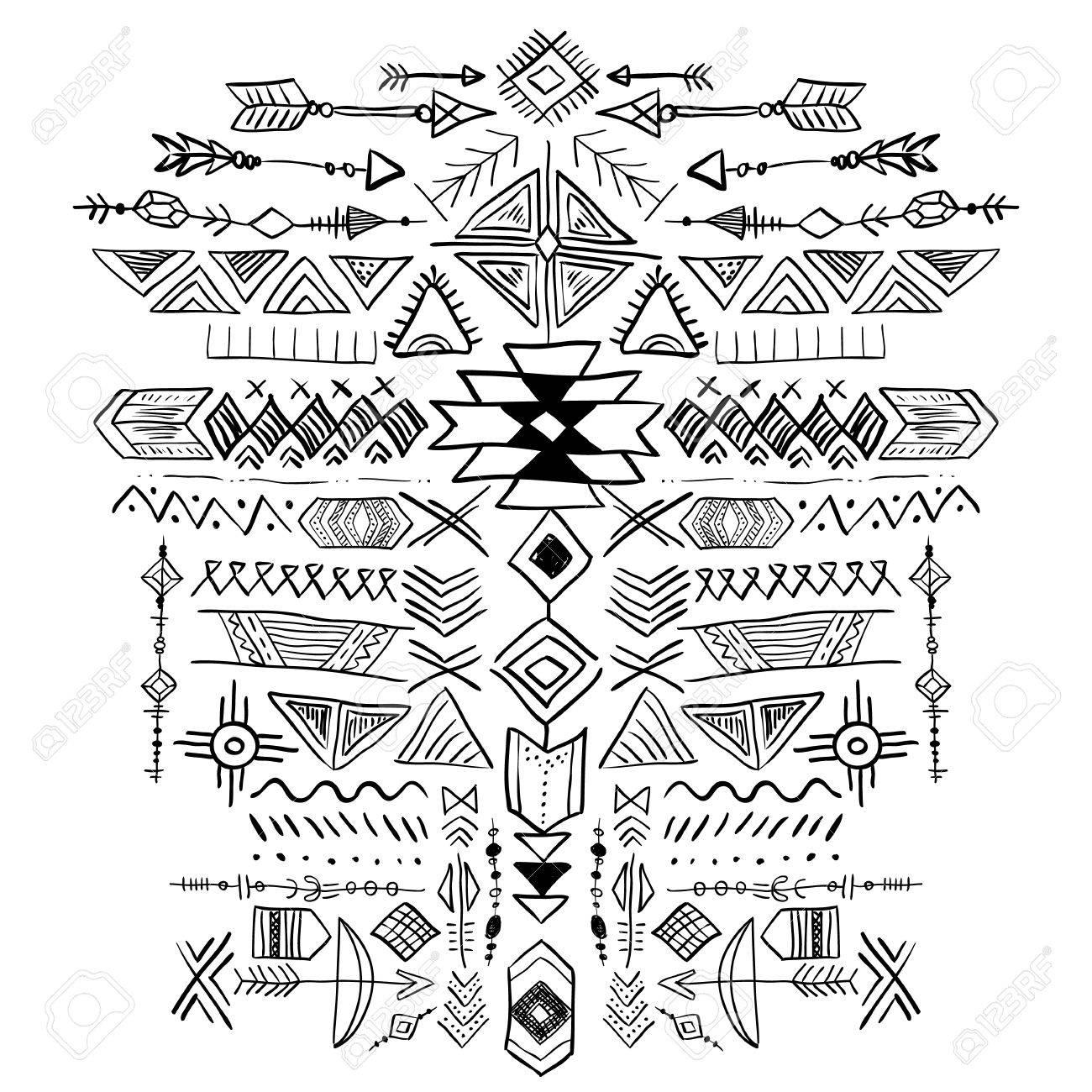 Navajo Aztec Vector Tribal Ethnische Verzierung. Abstrakte Hand ...