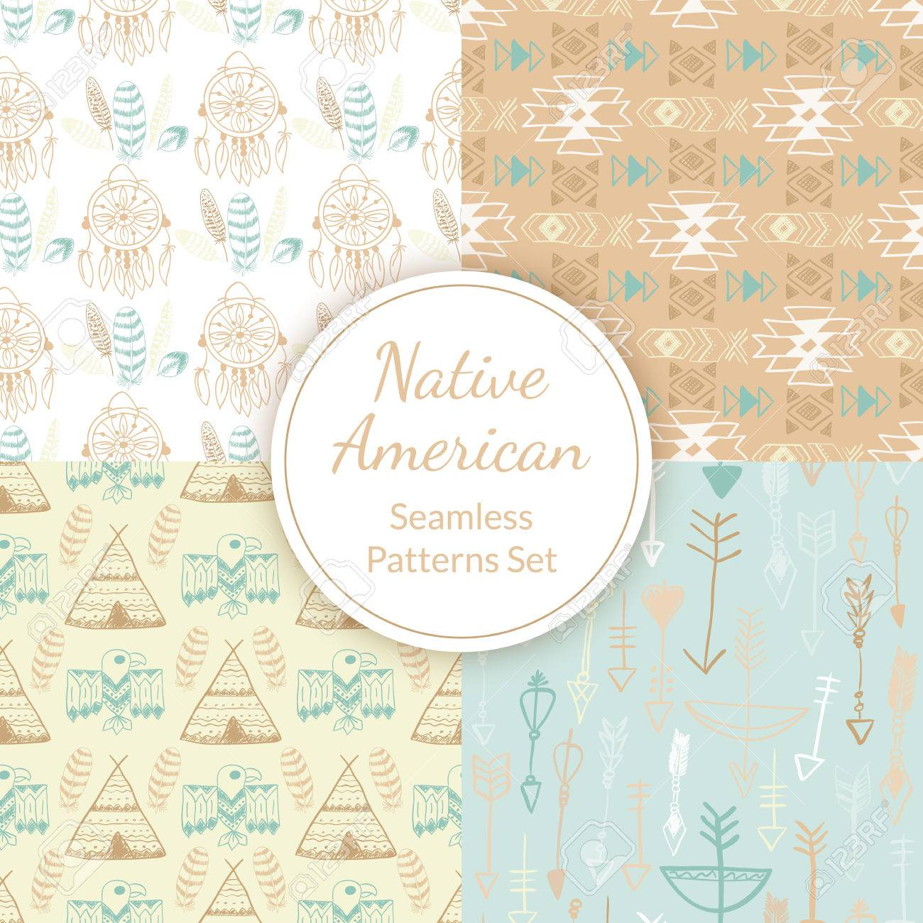 Native American Seamless Patterns Set With Dreamcatcher Arrows