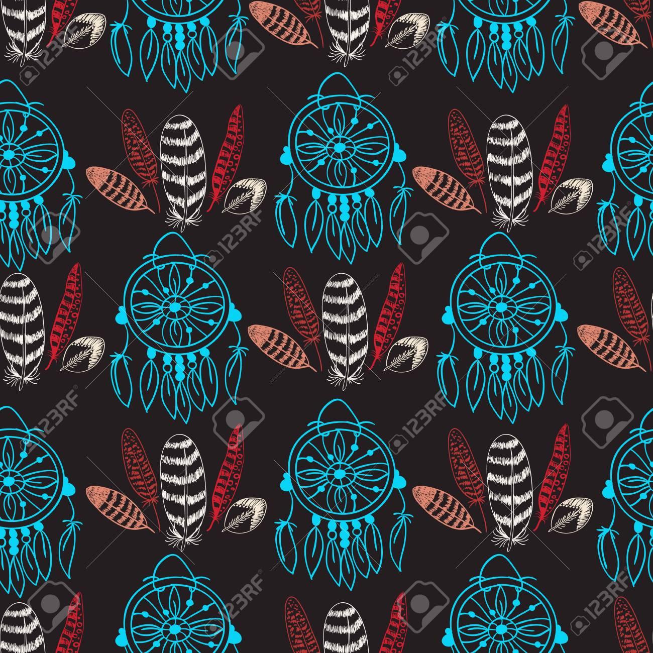 ネイティブ アメリカン ドリーム キャッチャーと羽のシームレスなパターン テキスタイル 壁紙の色手描き落書きのベクトルの背景のイラスト素材 ベクタ Image